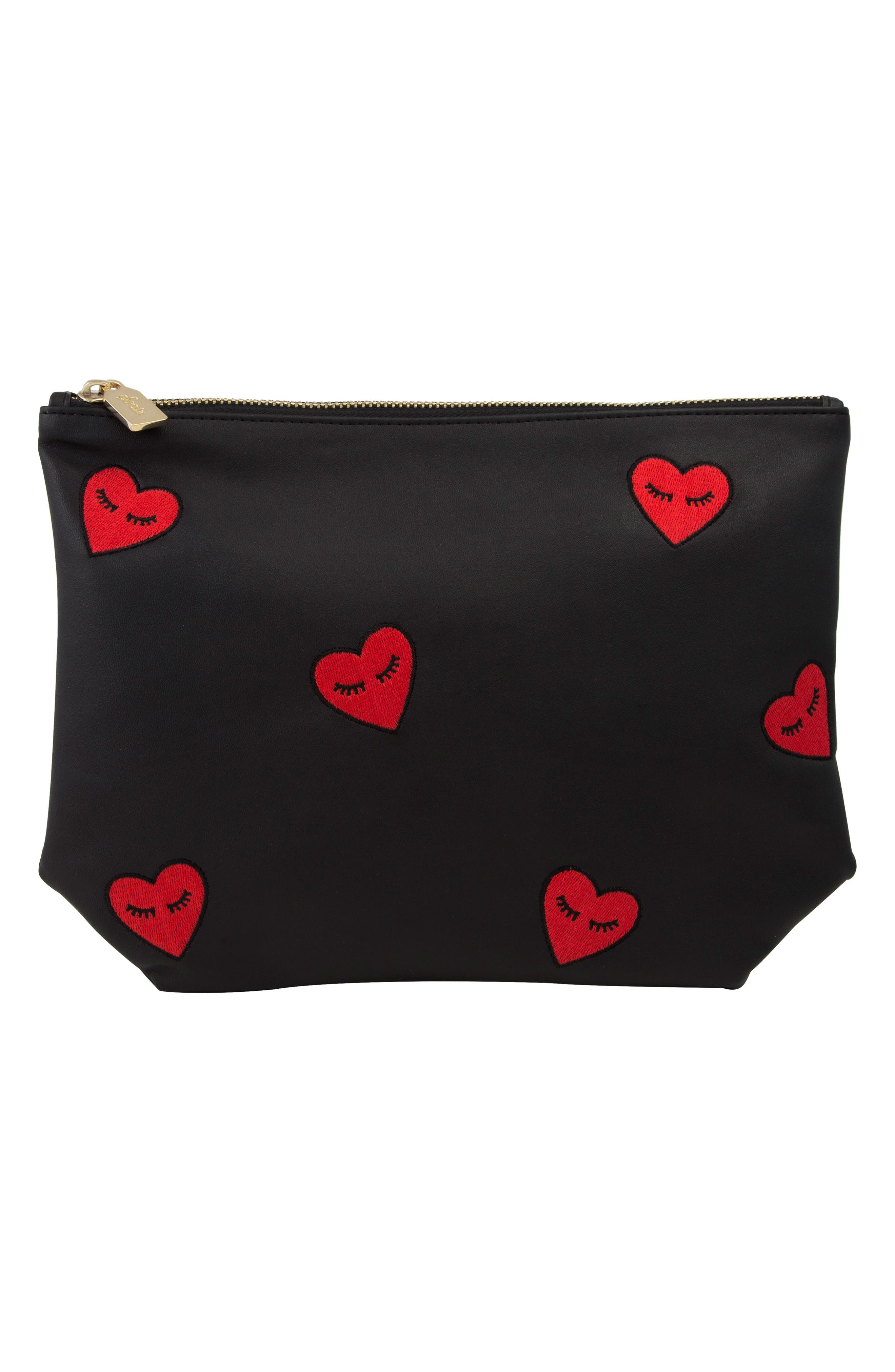 Fancy Hearts Faux Leather Everyday Pouch,                             Main thumbnail 1, color,                             Black