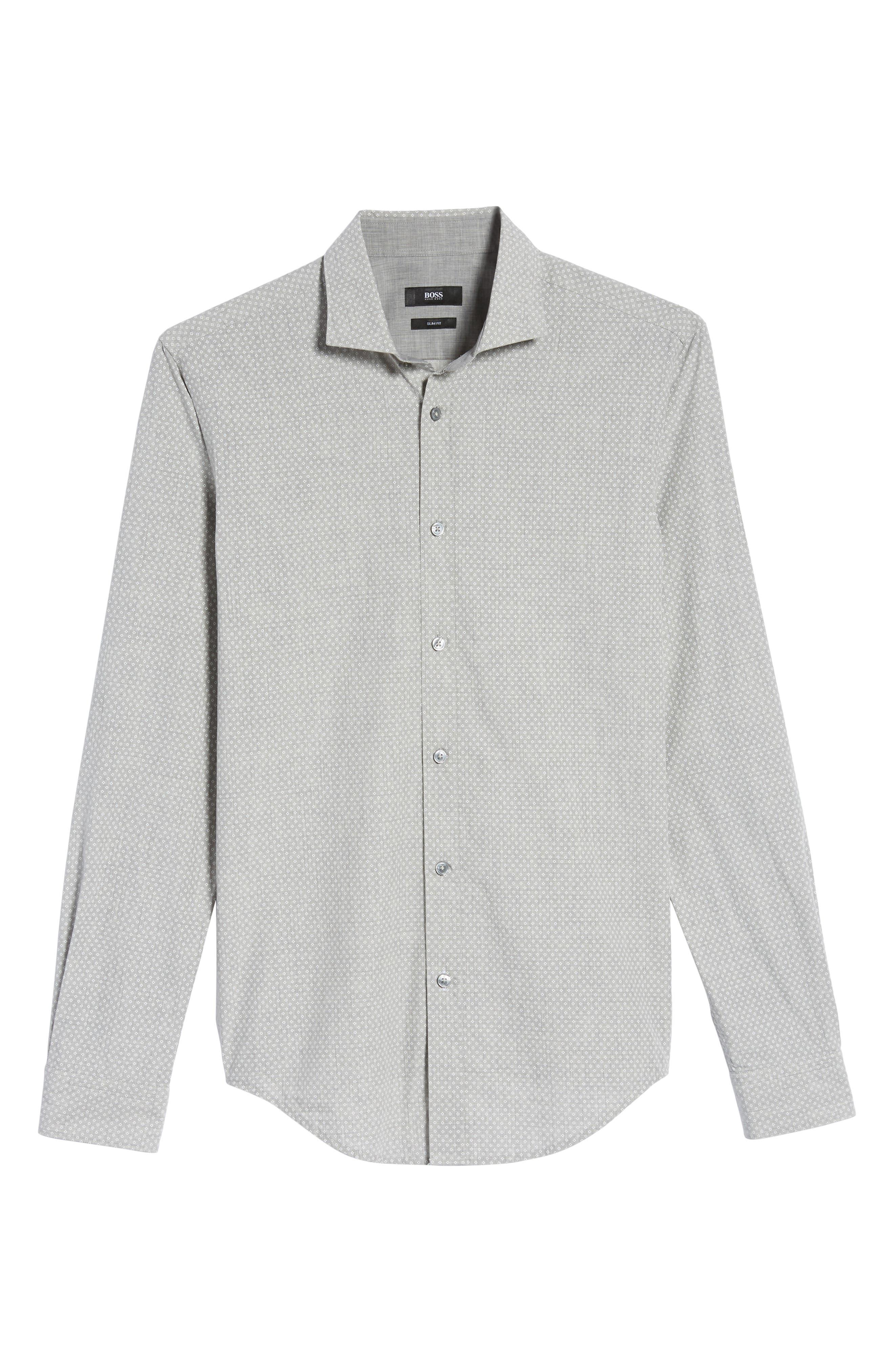 Ridley Slim Fit Micro Diamond Sport Shirt,                             Alternate thumbnail 5, color,                             Grey
