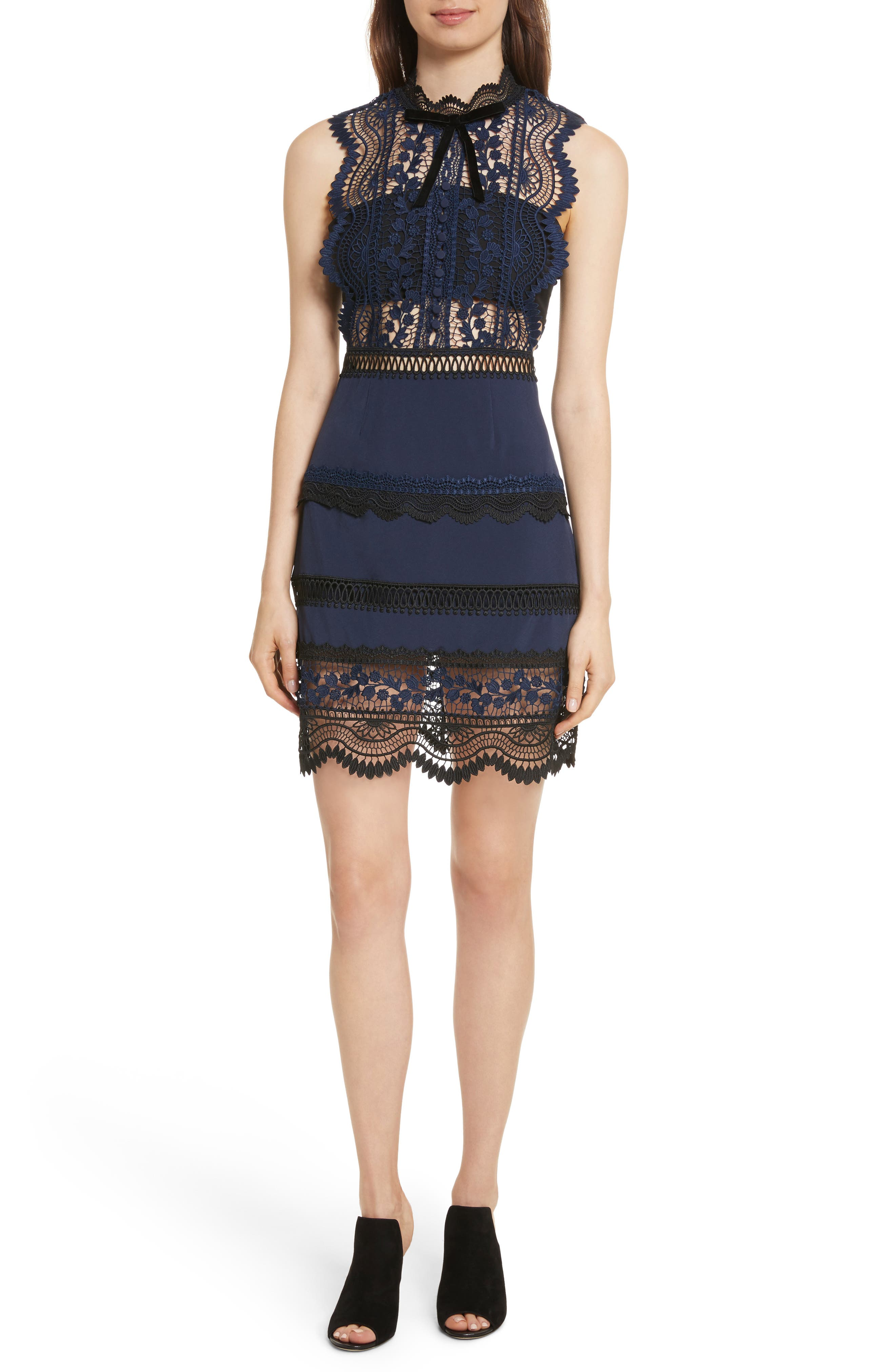Bellis Lace Dress,                         Main,                         color, Blue