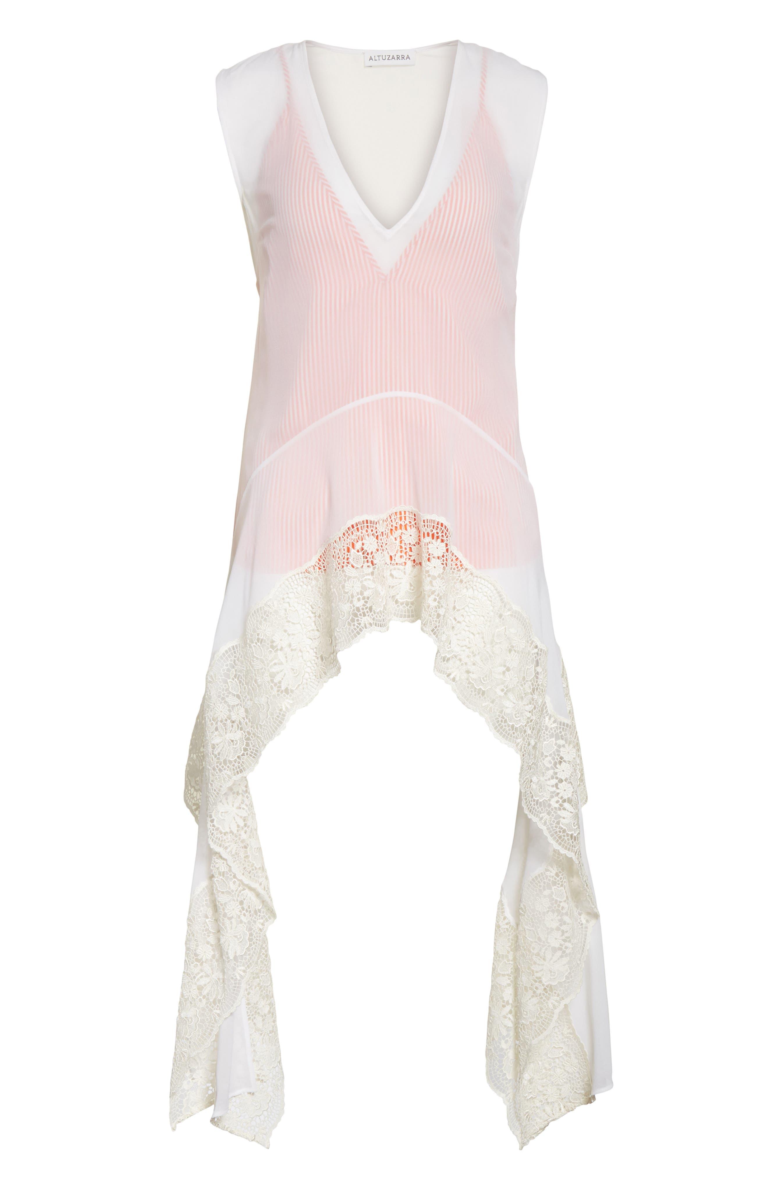 Lace Trim Silk Blouse,                             Alternate thumbnail 6, color,                             Natural White