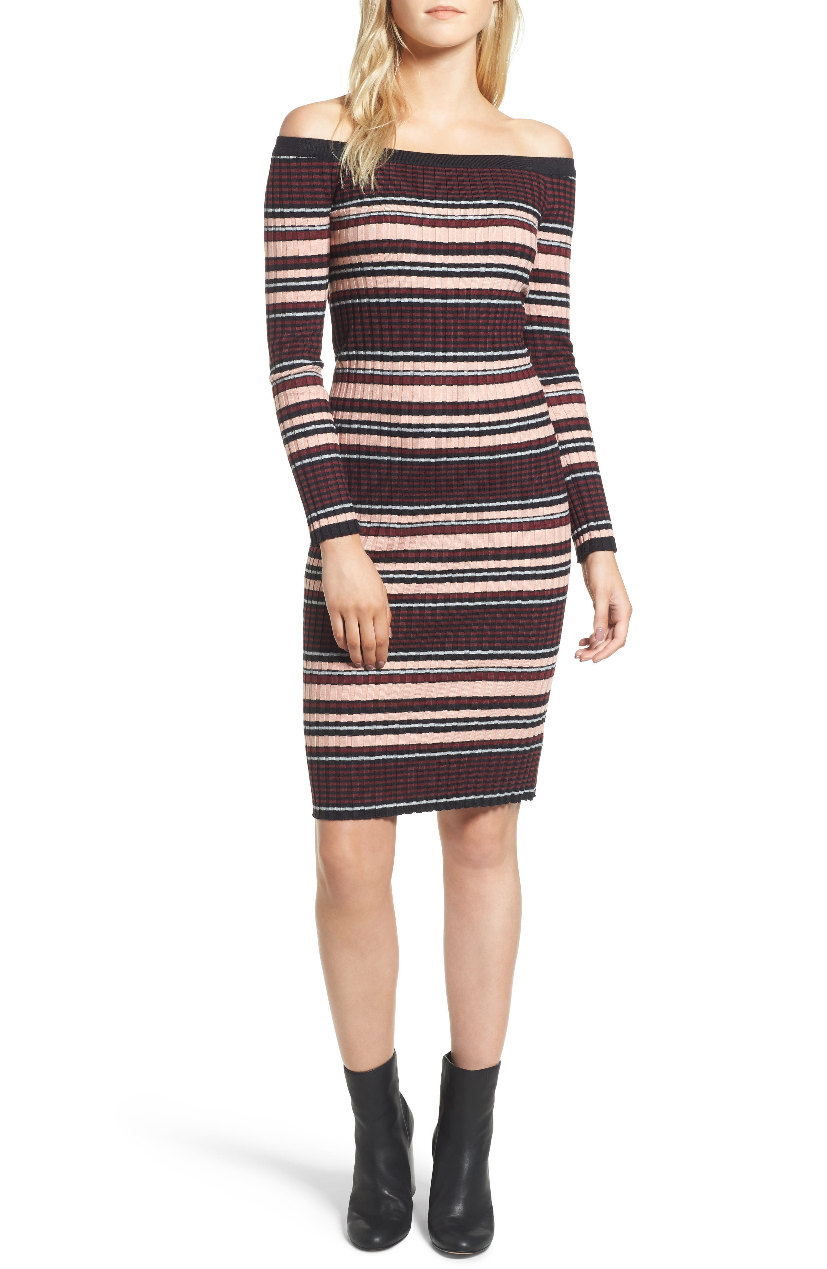 Tommy Off the Shoulder Body-Con Dress,                         Main,                         color, Black