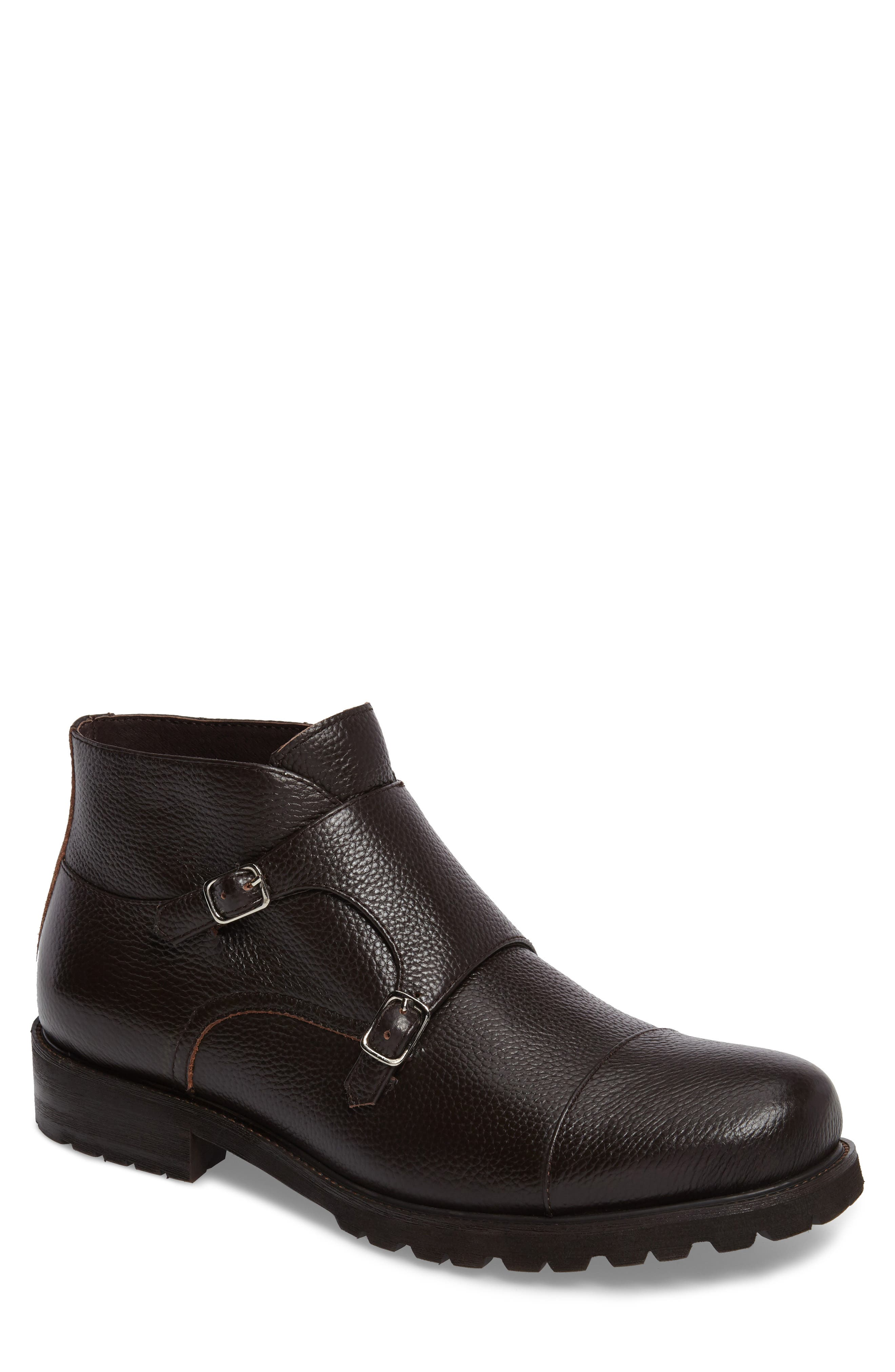 Koller Cap Toe Double Monk Boot,                             Main thumbnail 1, color,                             Black Leather
