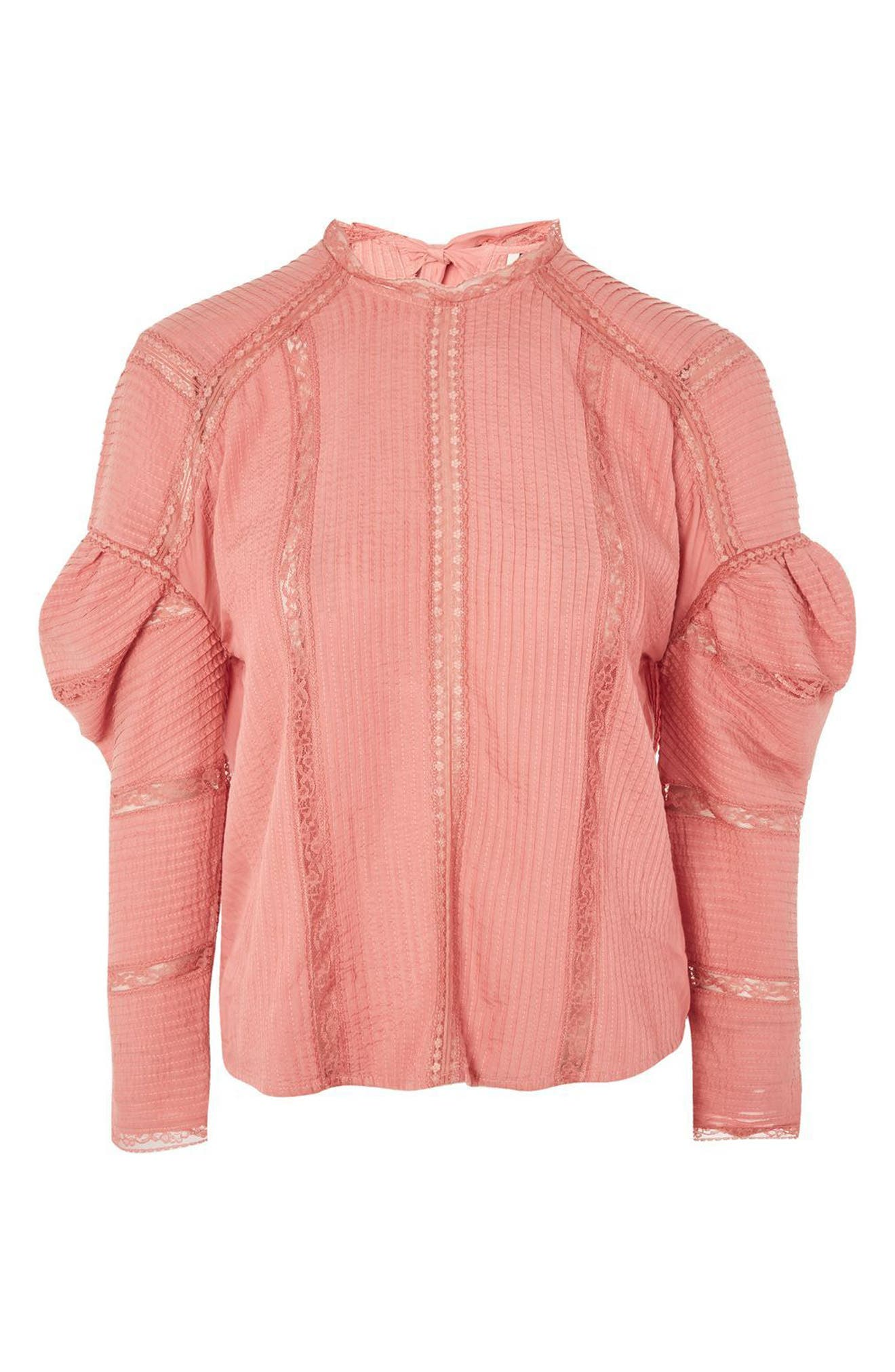 Alternate Image 4  - Topshop Statement Sleeve Pintuck Blouse