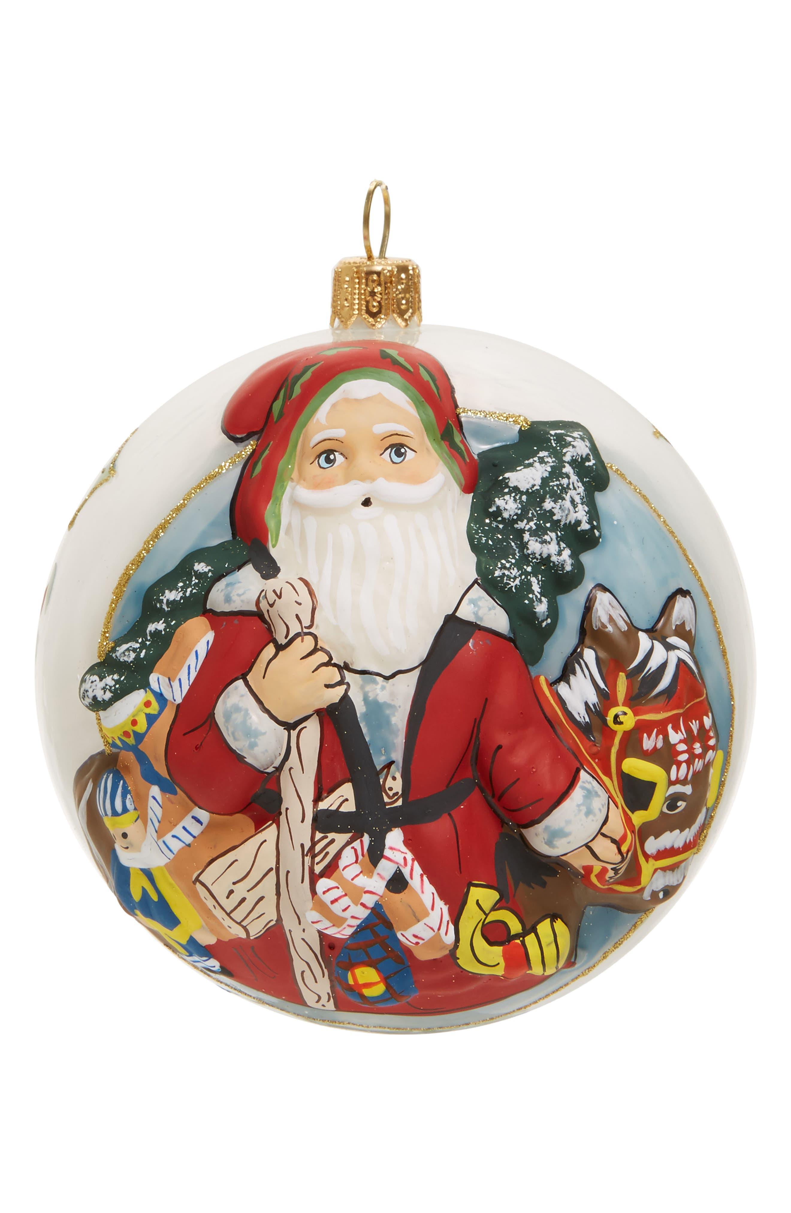 Jingle Ball Santa Glass Ornament,                             Main thumbnail 1, color,                             Red