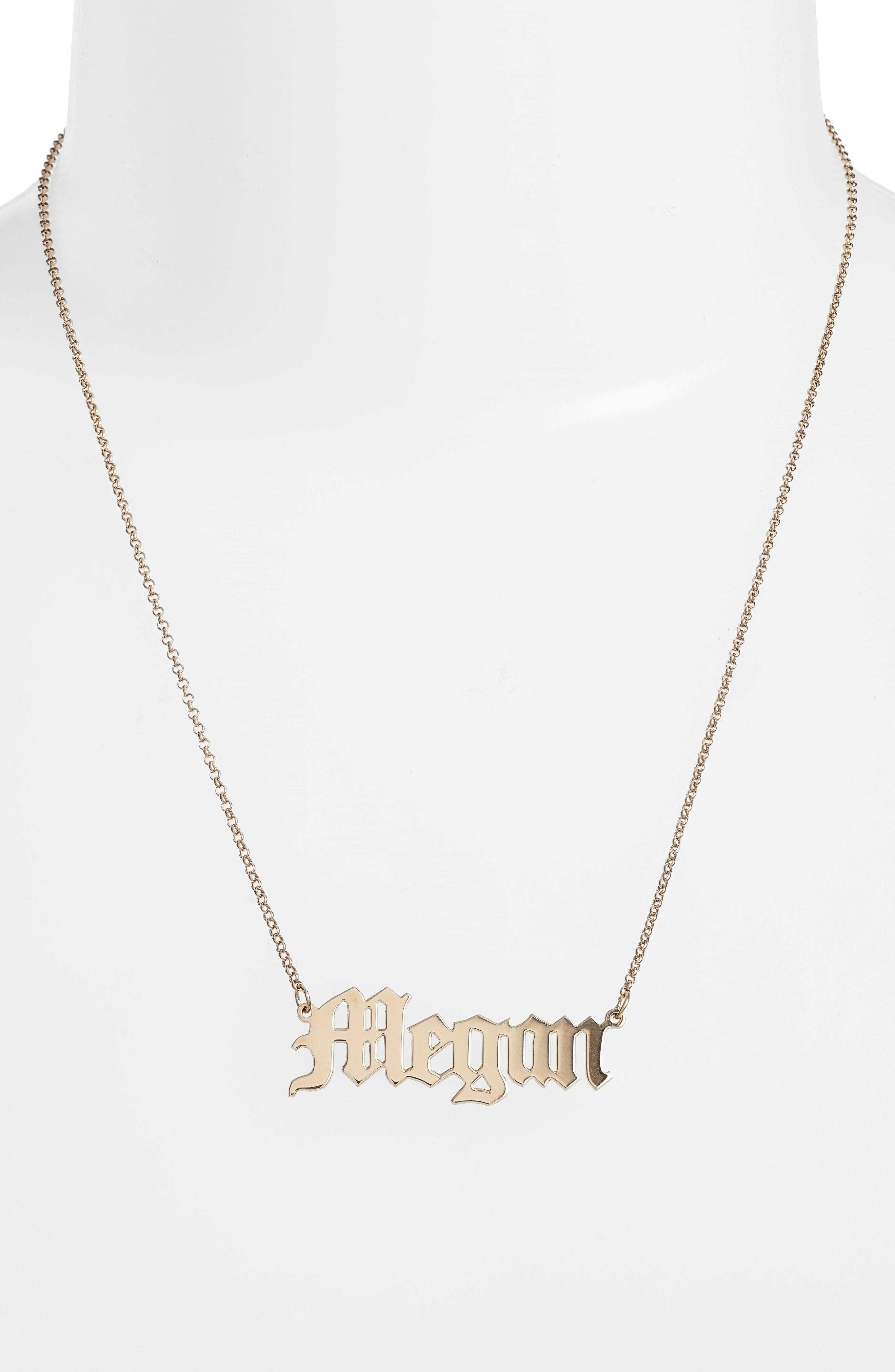 Personalized English Font Name Necklace,                             Alternate thumbnail 2, color,                             Gold