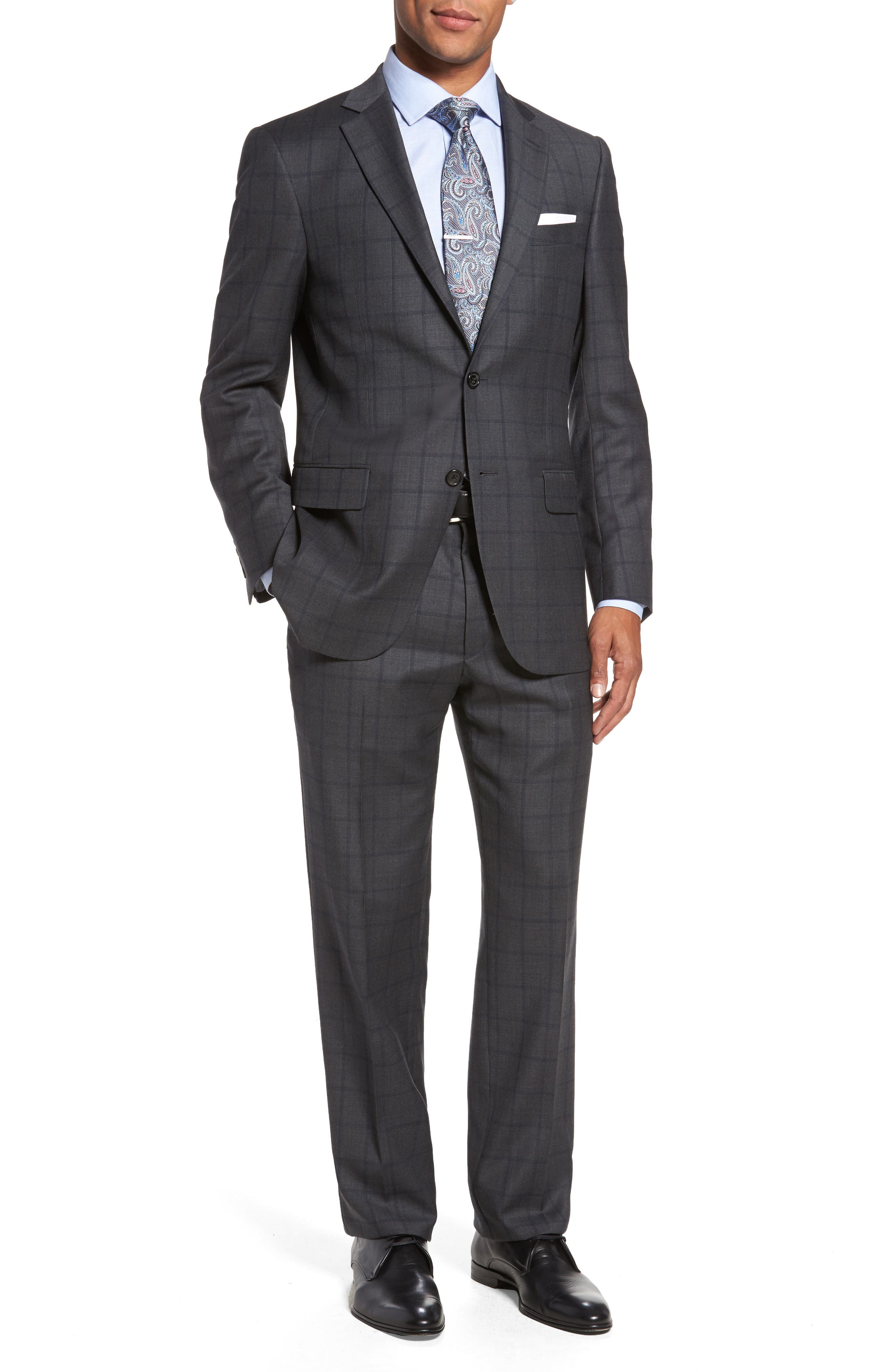 Classic Fit Windowpane Wool Suit,                         Main,                         color, Medium Olive