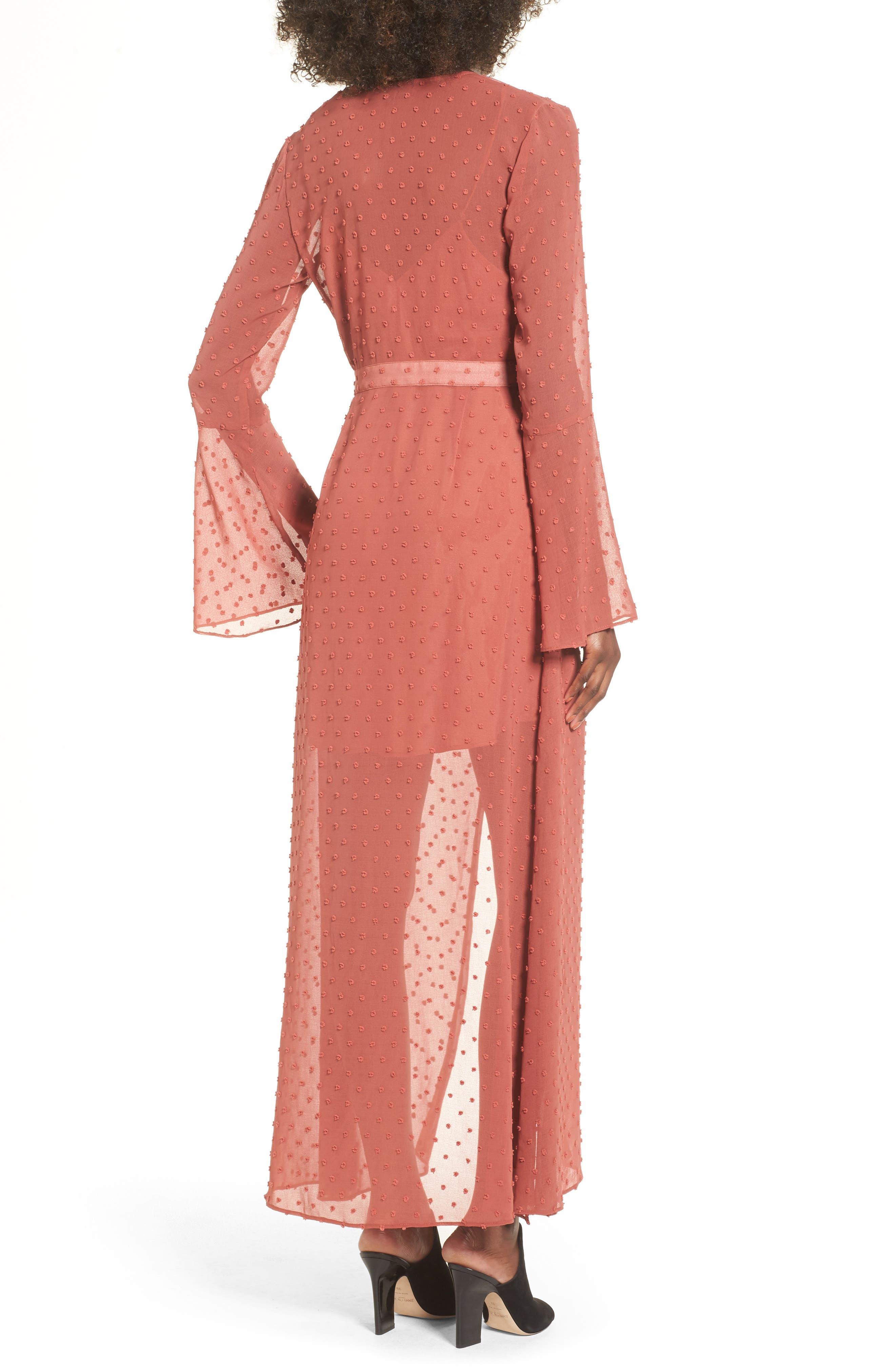 Freya Bell Sleeve Wrap Maxi Dress,                             Alternate thumbnail 3, color,                             Cinnamon