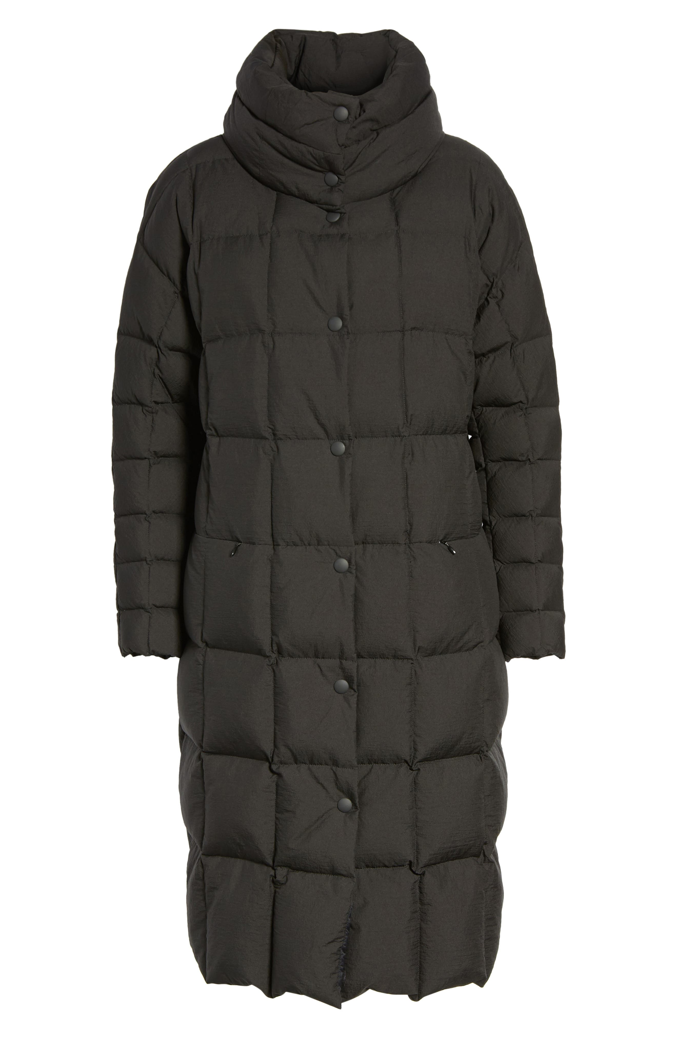 Carley Packable Long Coat,                             Alternate thumbnail 6, color,                             Black