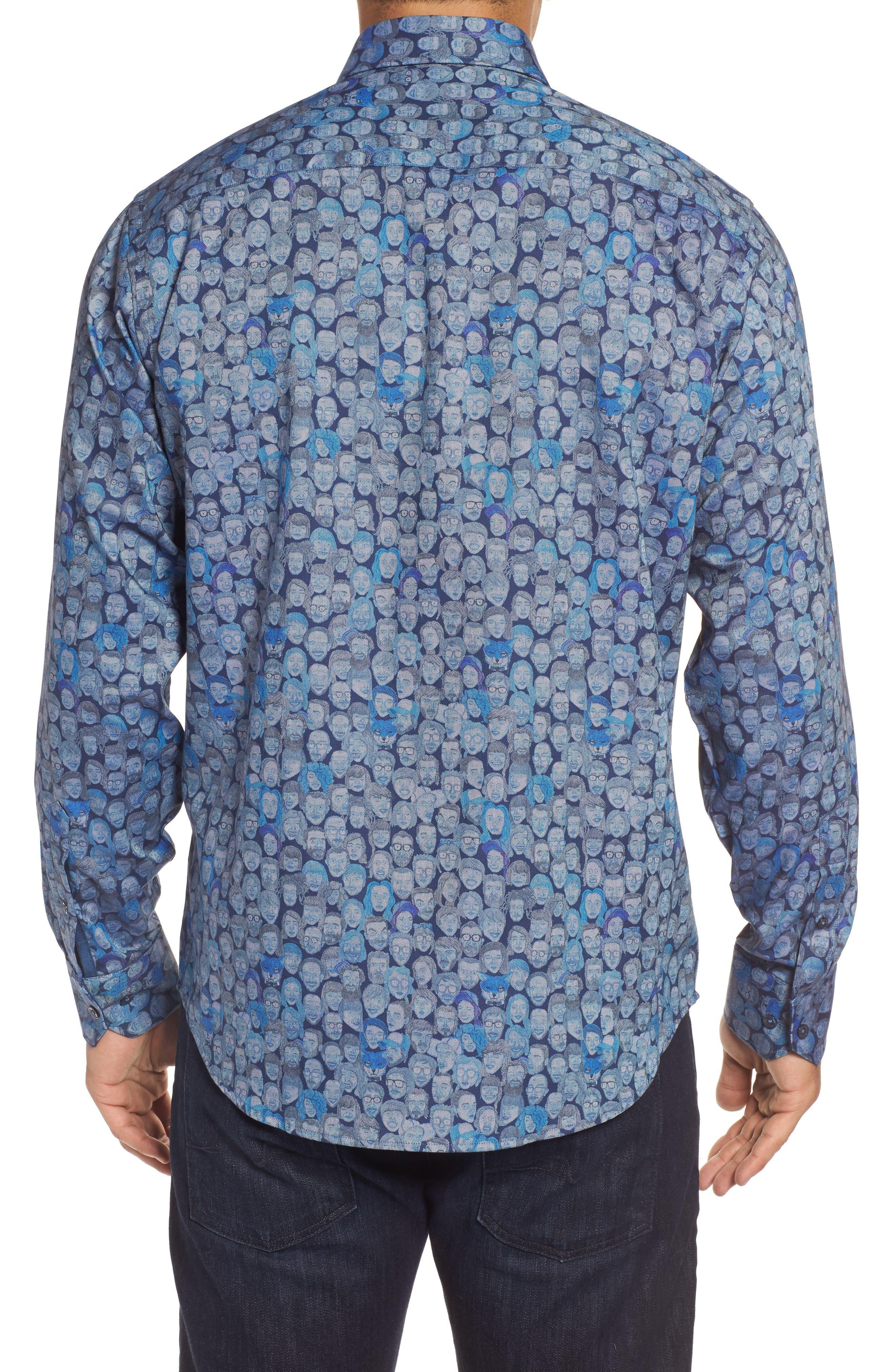 Classic Fit Face Print Sport Shirt,                             Alternate thumbnail 2, color,                             Classic Blue