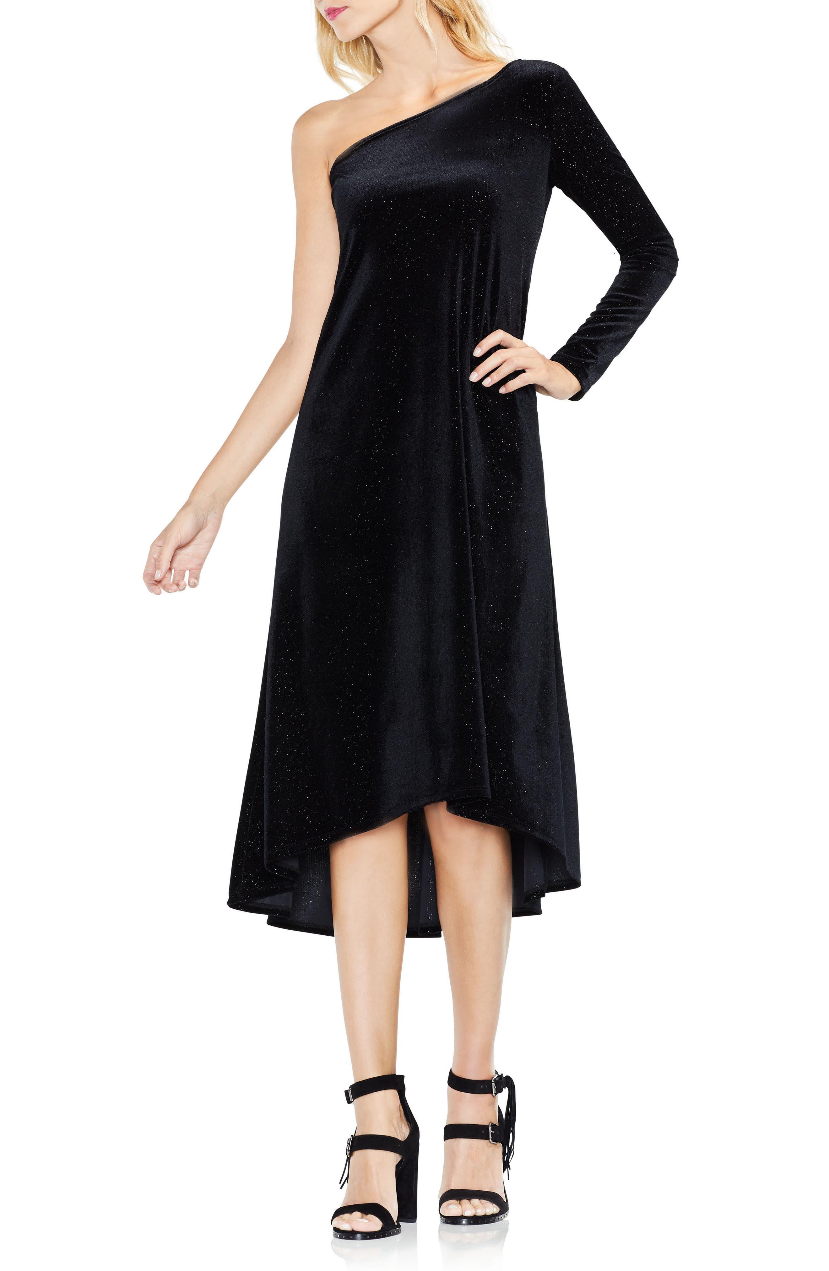 One-Shoulder Sharkbite Sparkle Dress,                         Main,                         color, Rich Black