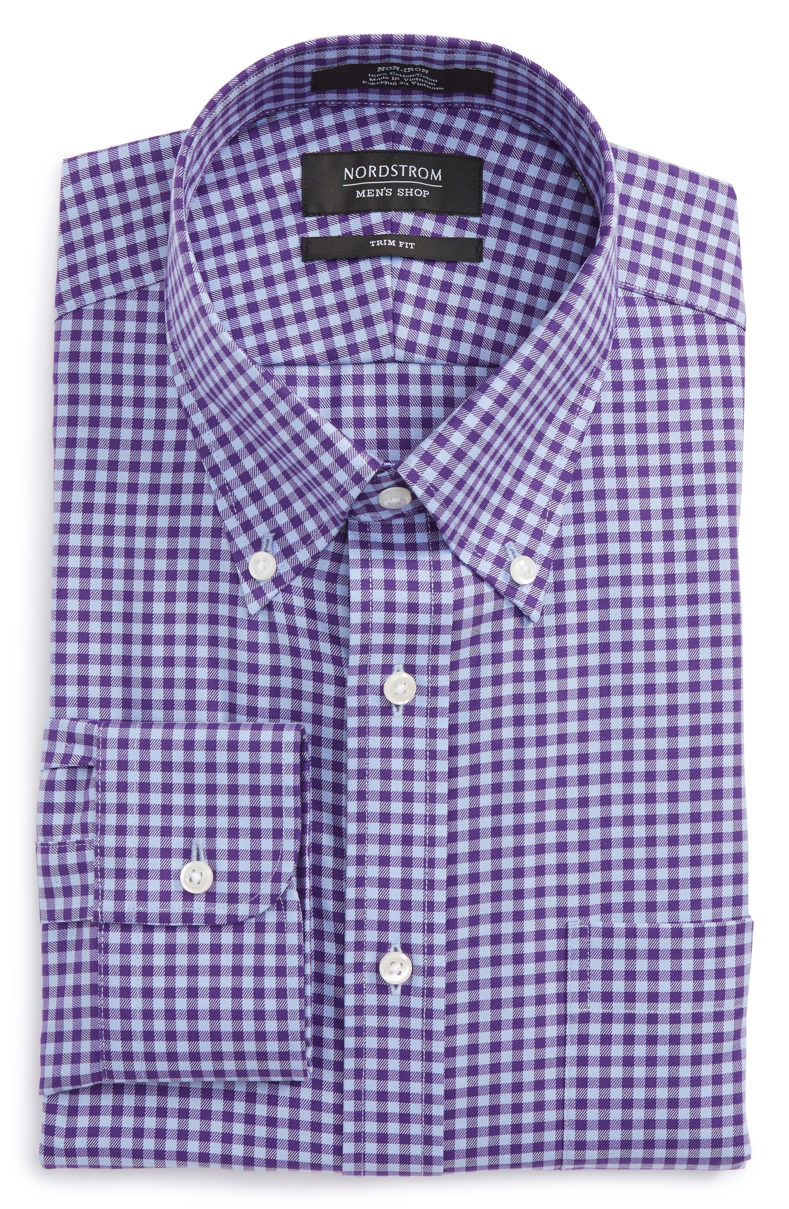 Alternate Image 6  - Nordstrom Men's Shop Trim Fit Non-Iron Gingham Dress Shirt