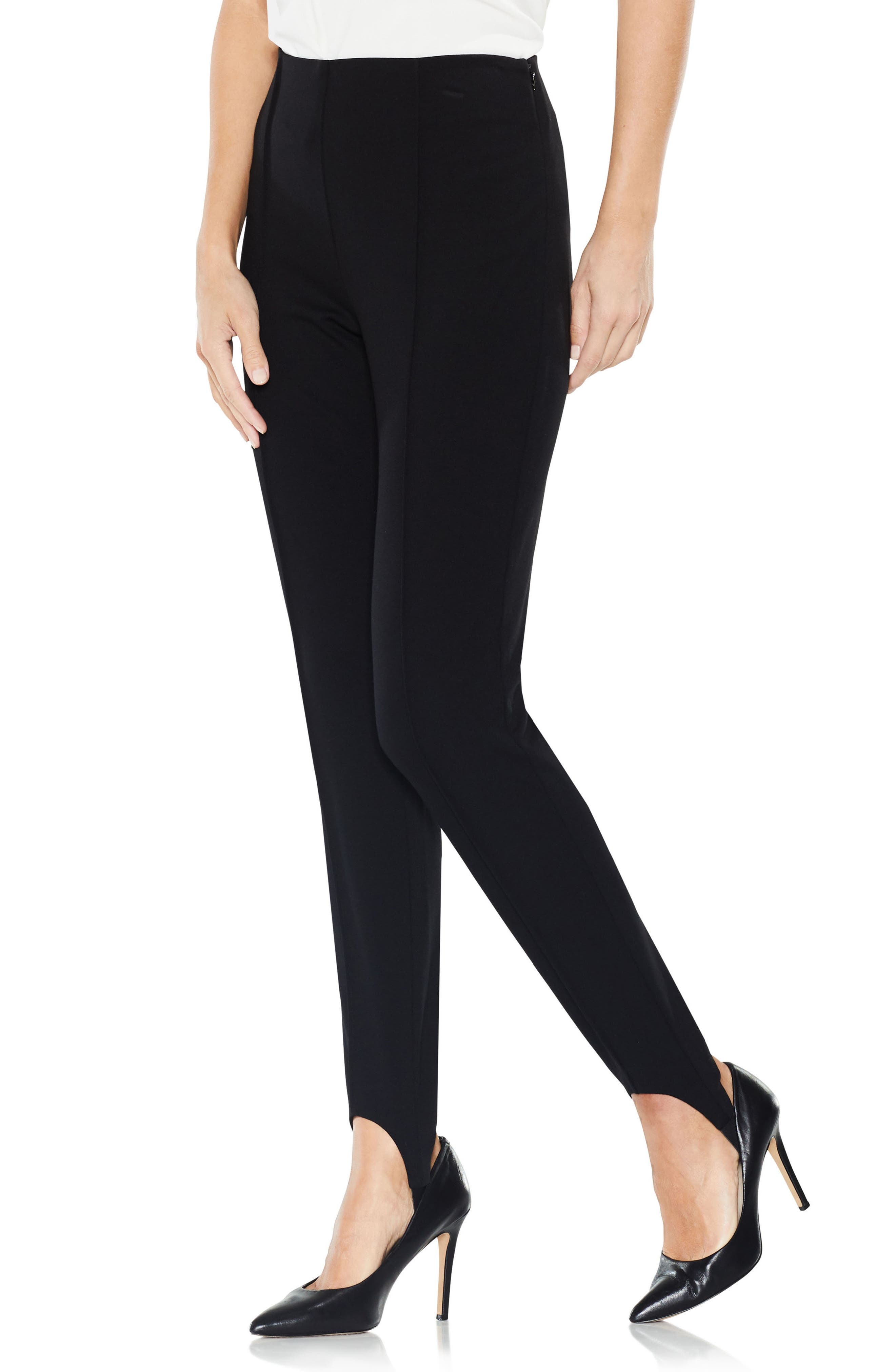 Stirrup Side-Zip Ponte Pants,                         Main,                         color, Rich Black
