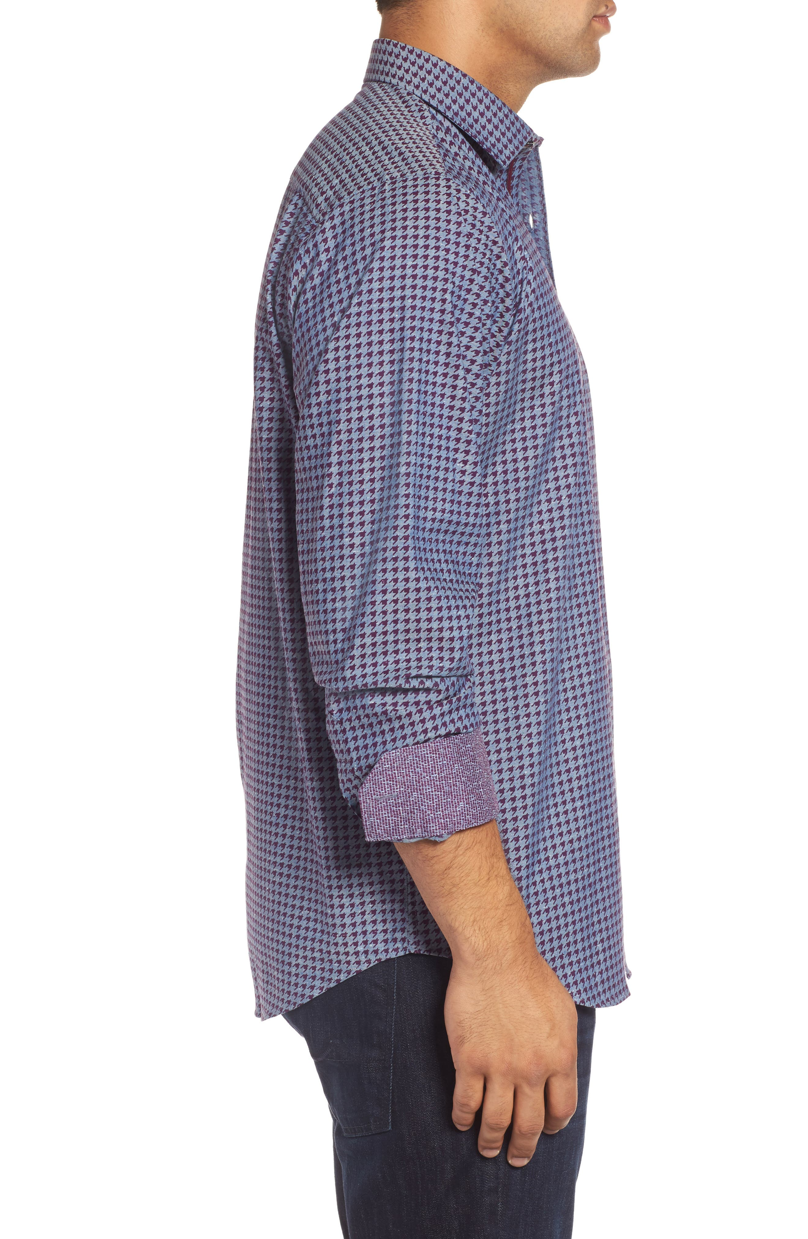 Classic Fit Houndstooth Print Sport Shirt,                             Alternate thumbnail 3, color,                             Bordeaux