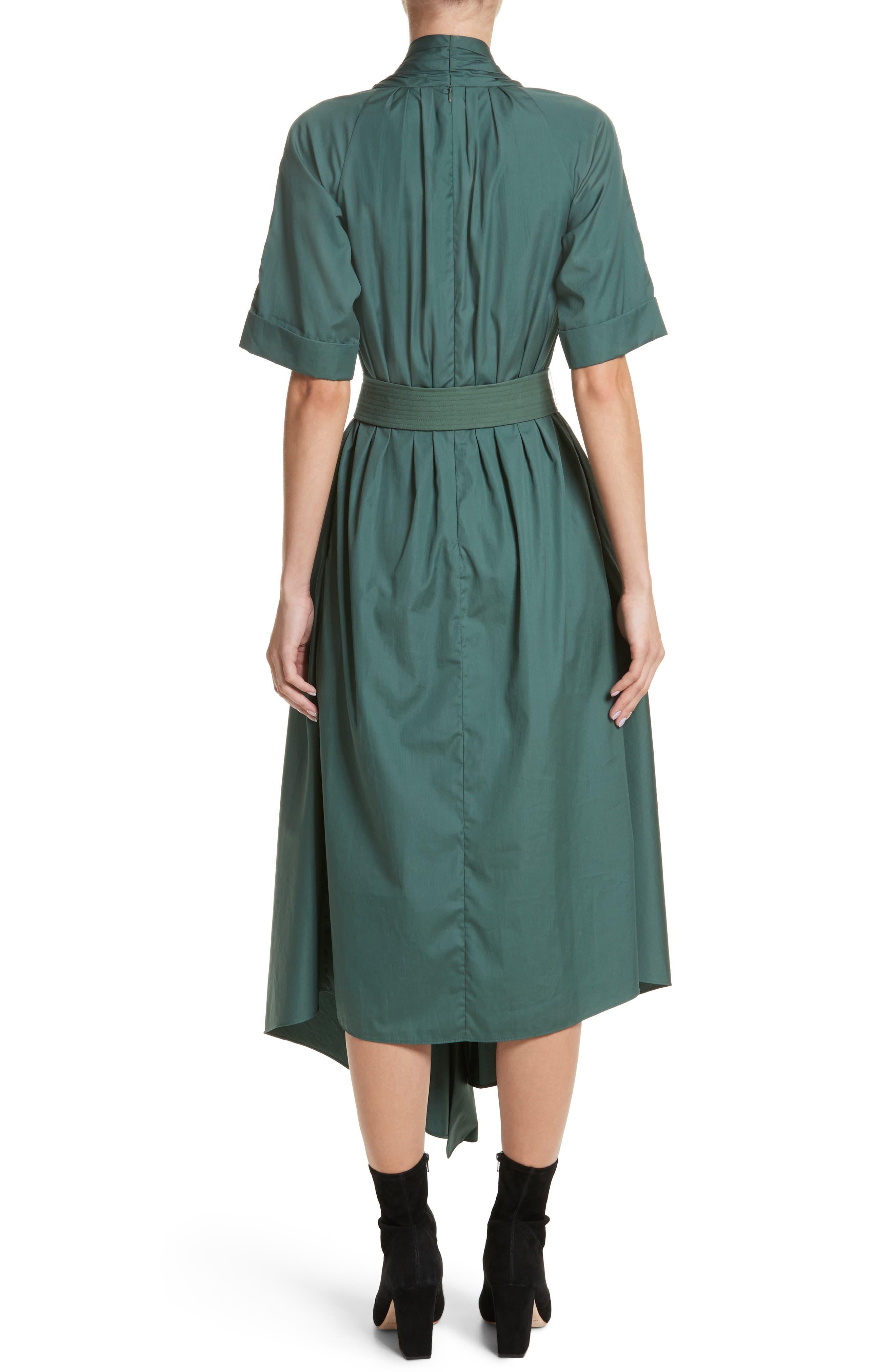 Asymmetrical Cotton Poplin Dress,                             Alternate thumbnail 2, color,                             Sage