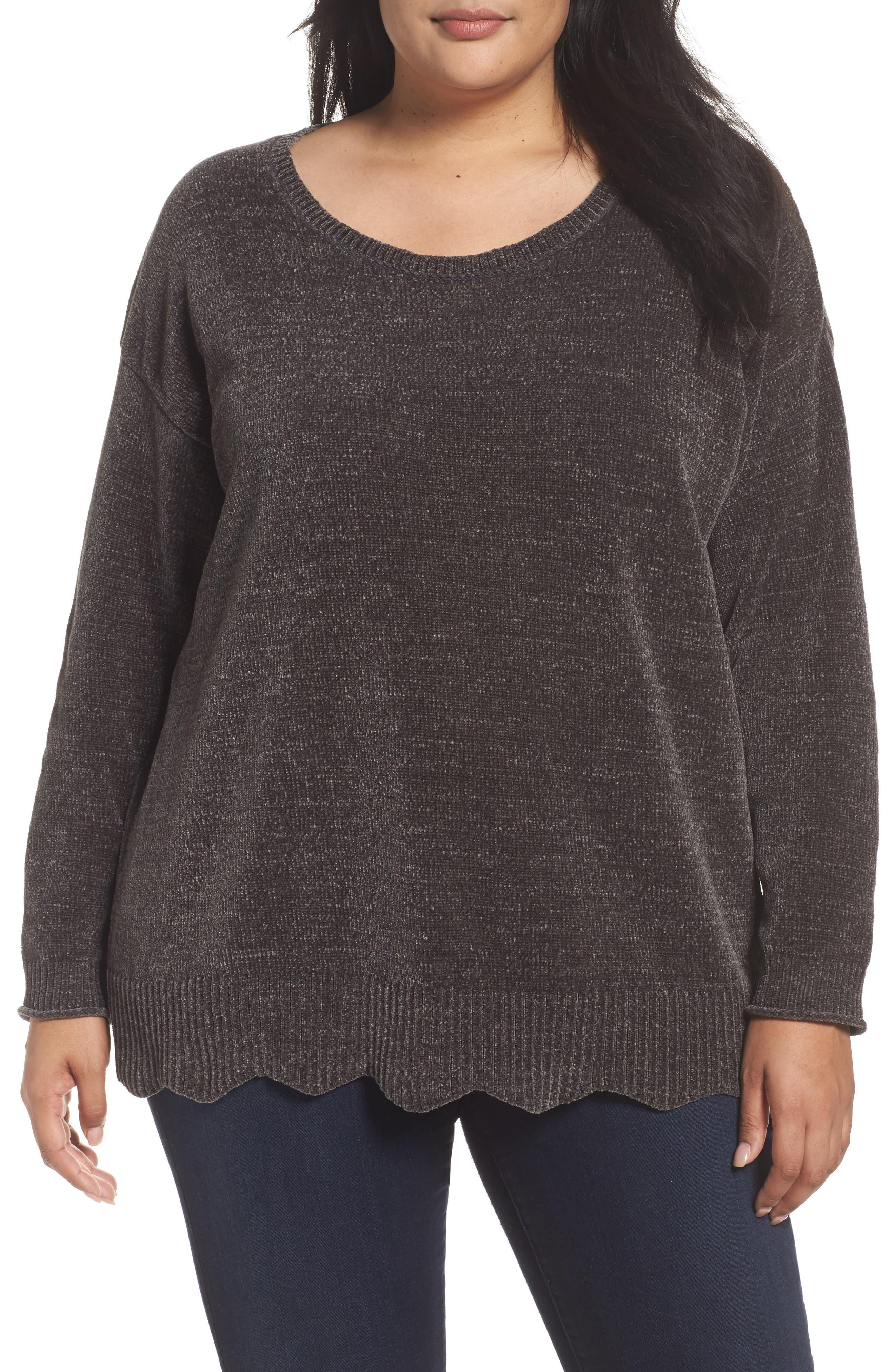 Sejour Scallop Hem Sweater (Plus Size)