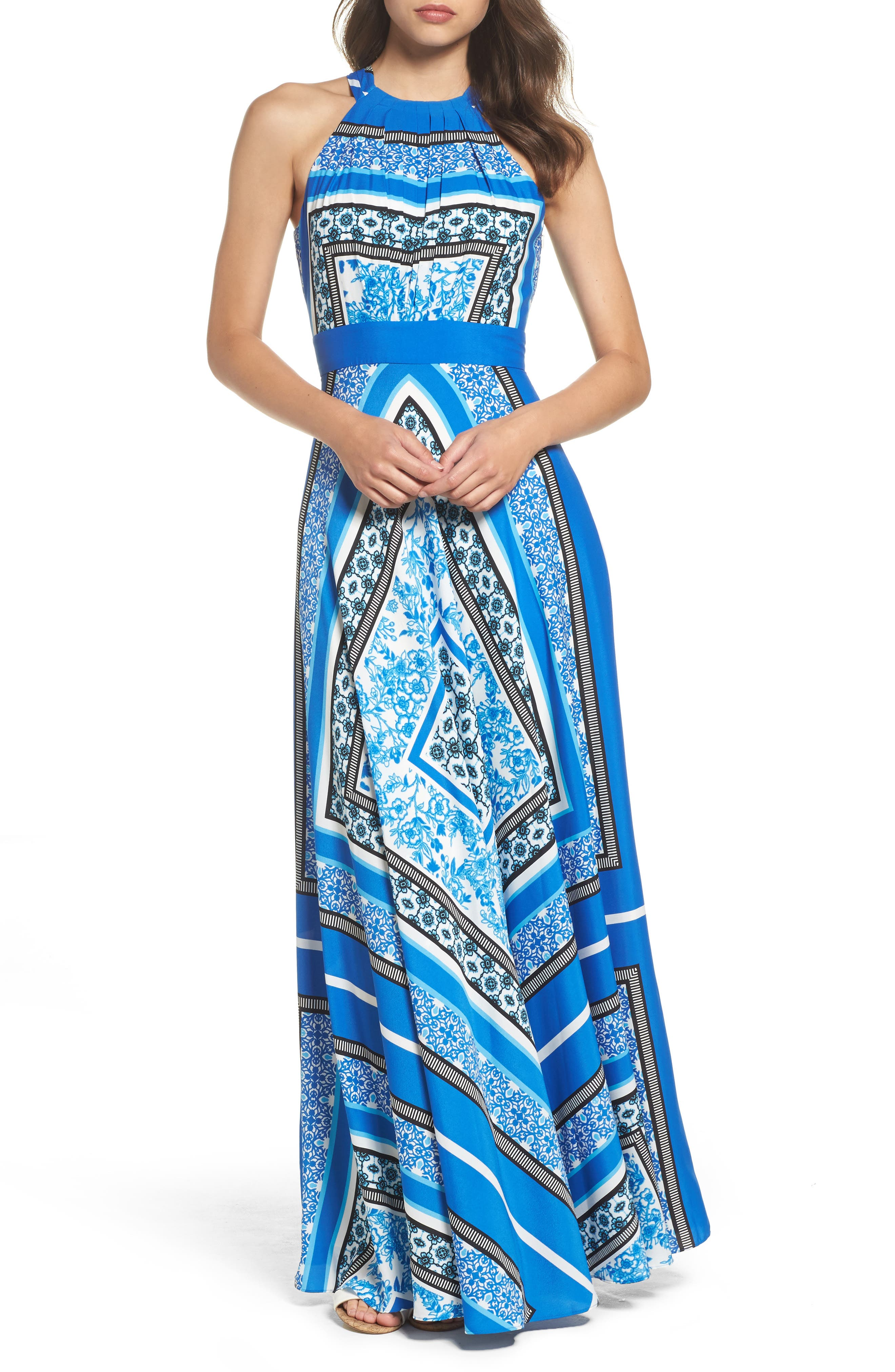 Alternate Image 1 Selected - Eliza J Scarf Print Halter Crêpe de Chine Maxi Dress (Regular & Petite)