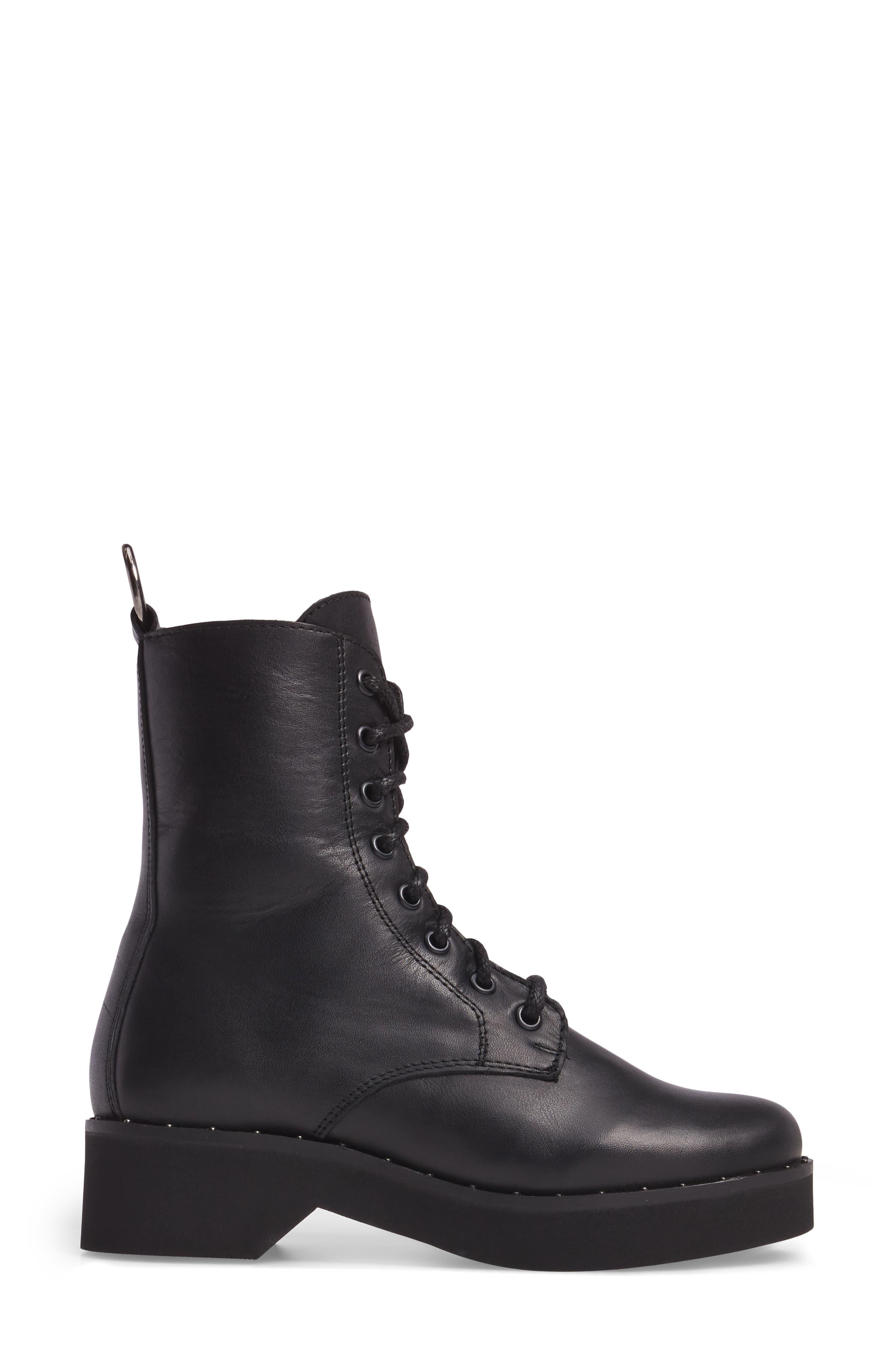 Rocco Combat Boot,                             Alternate thumbnail 3, color,                             Black Leather