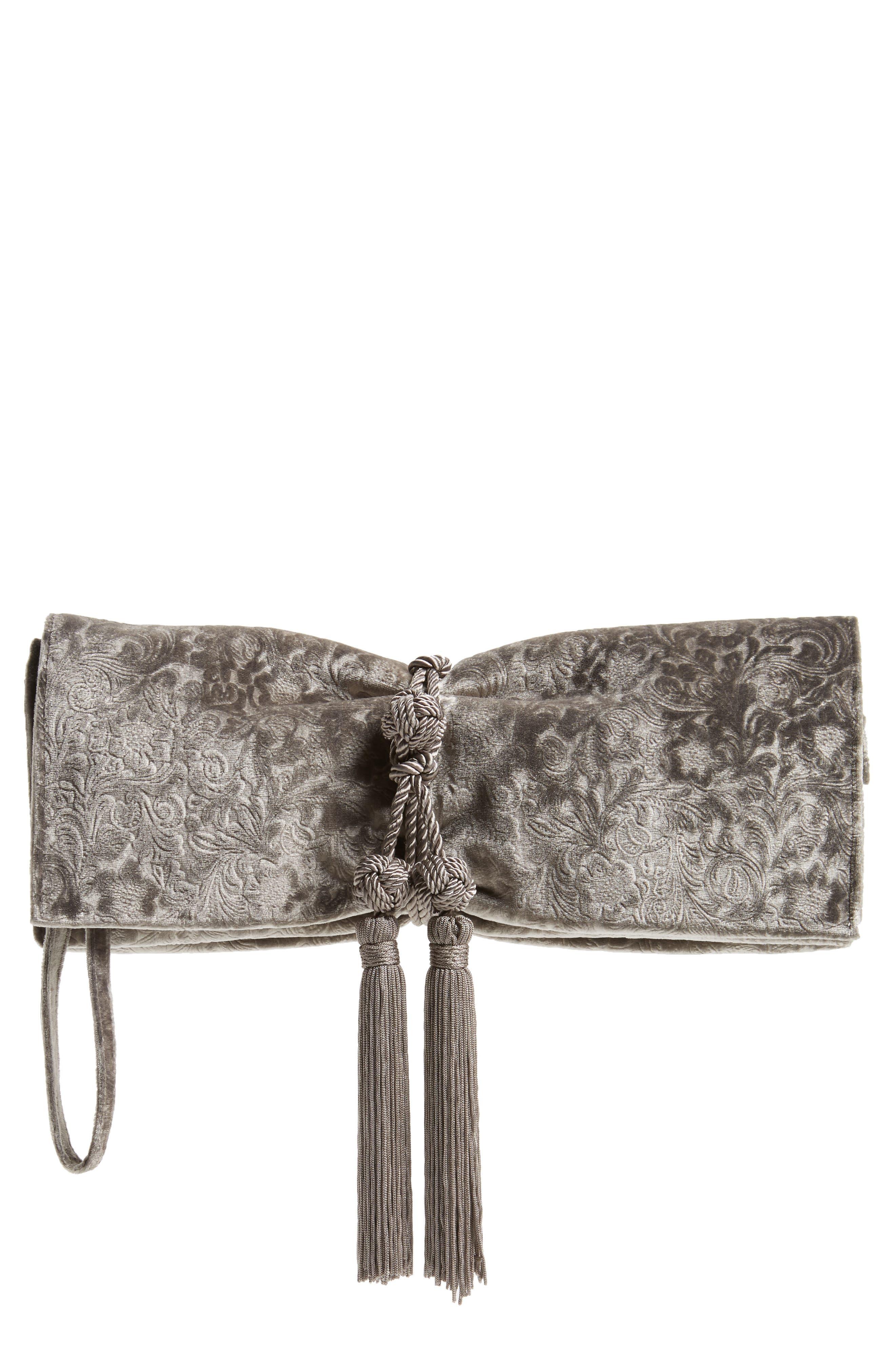 Badgley Mischka Carbon Velvet Clutch