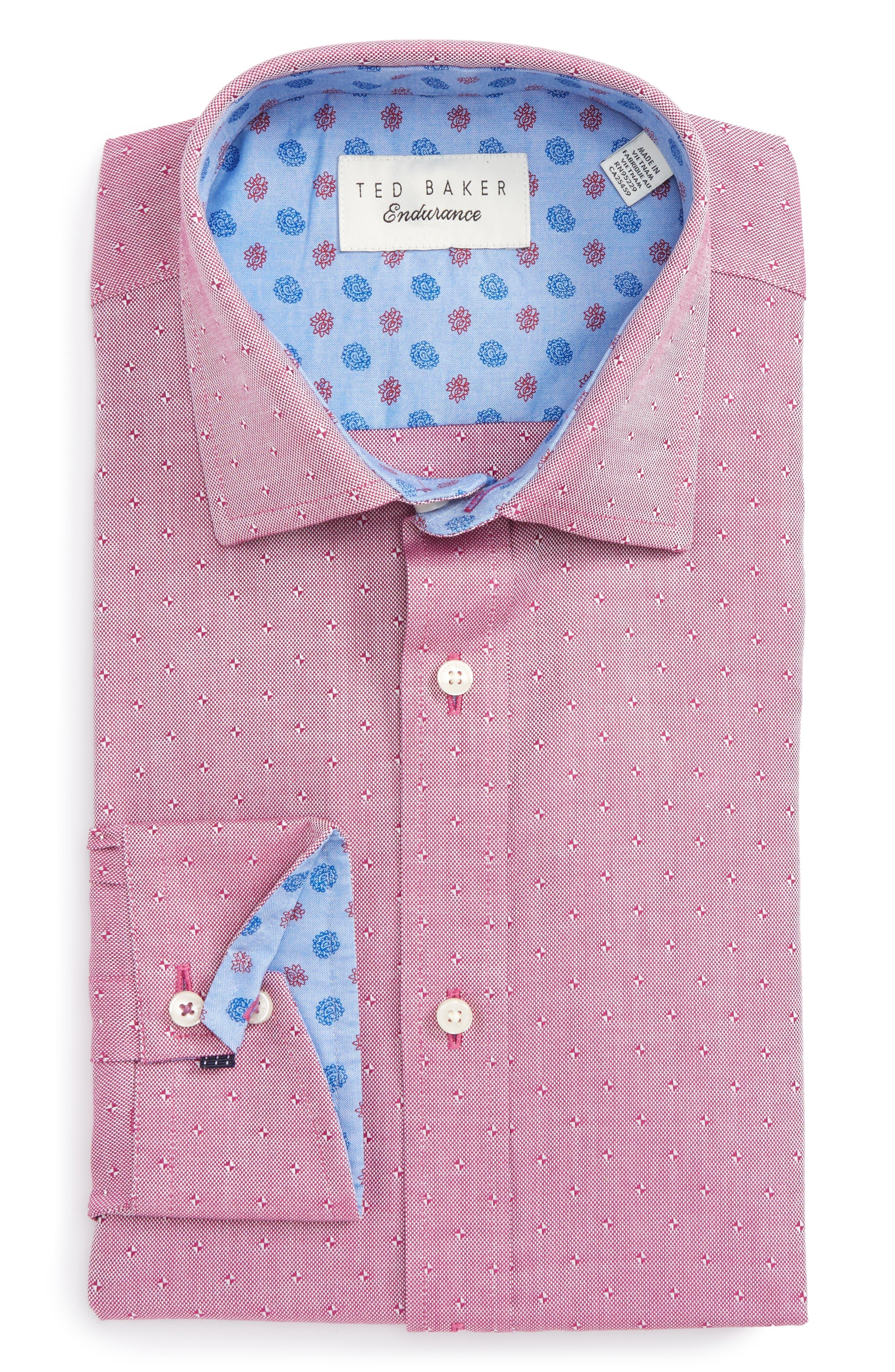 Alternate Image 1 Selected - Ted Baker London Jamer Trim Fit Dot Dress Shirt