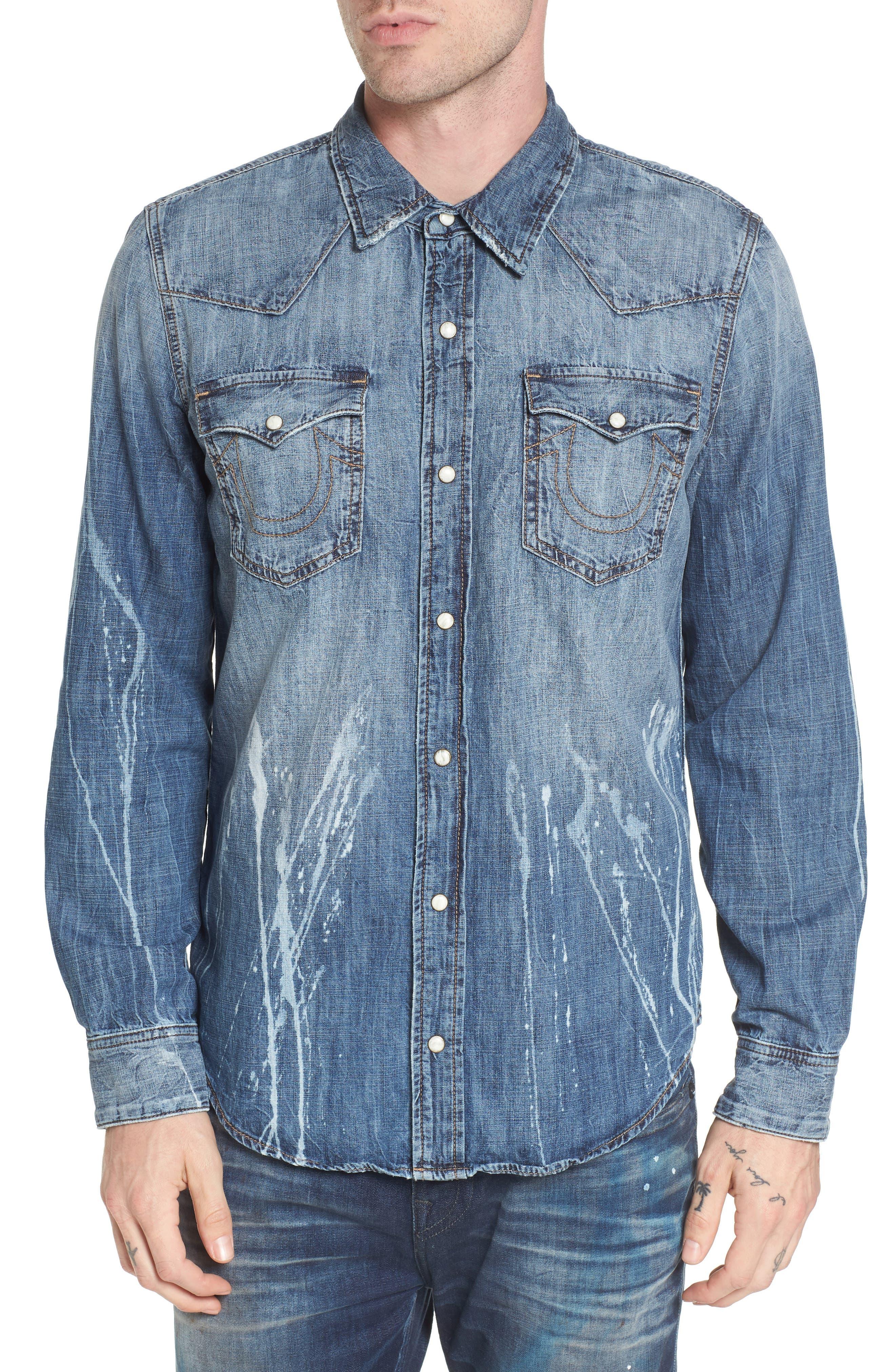 Alternate Image 1 Selected - True Religion Brand Jeans Ryan Runyon Rebel Long Sleeve Western Shirt