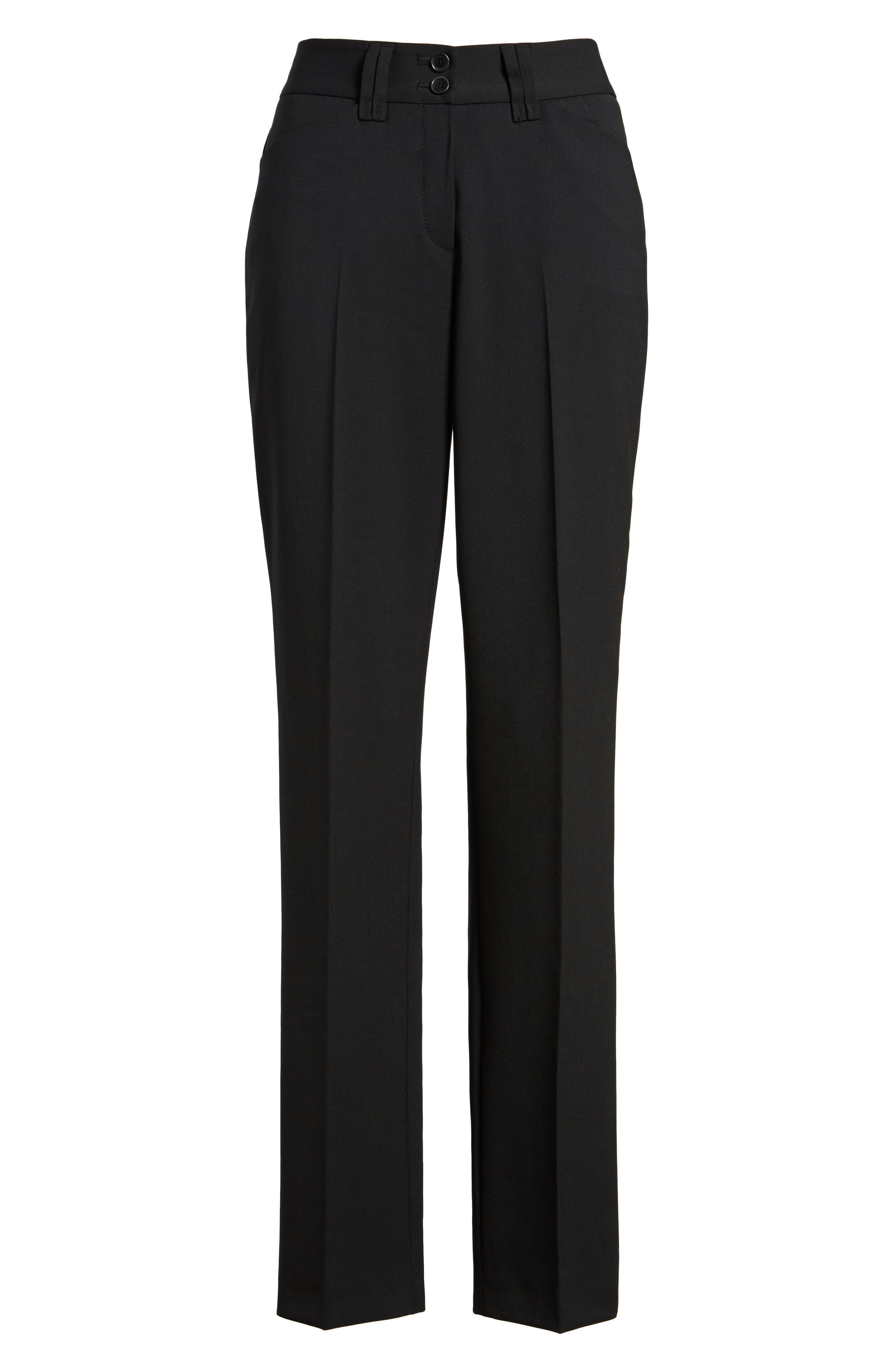 Straight Leg Trousers,                             Alternate thumbnail 6, color,                             Black