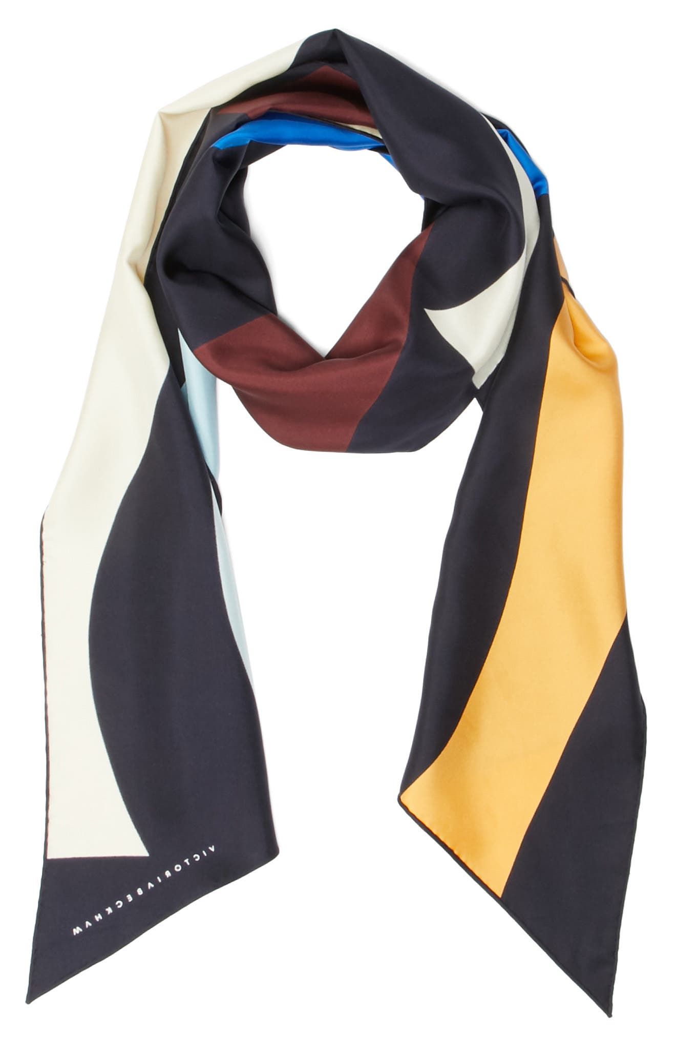 Print Silk Rectangle Scarf,                         Main,                         color, Navy Multi