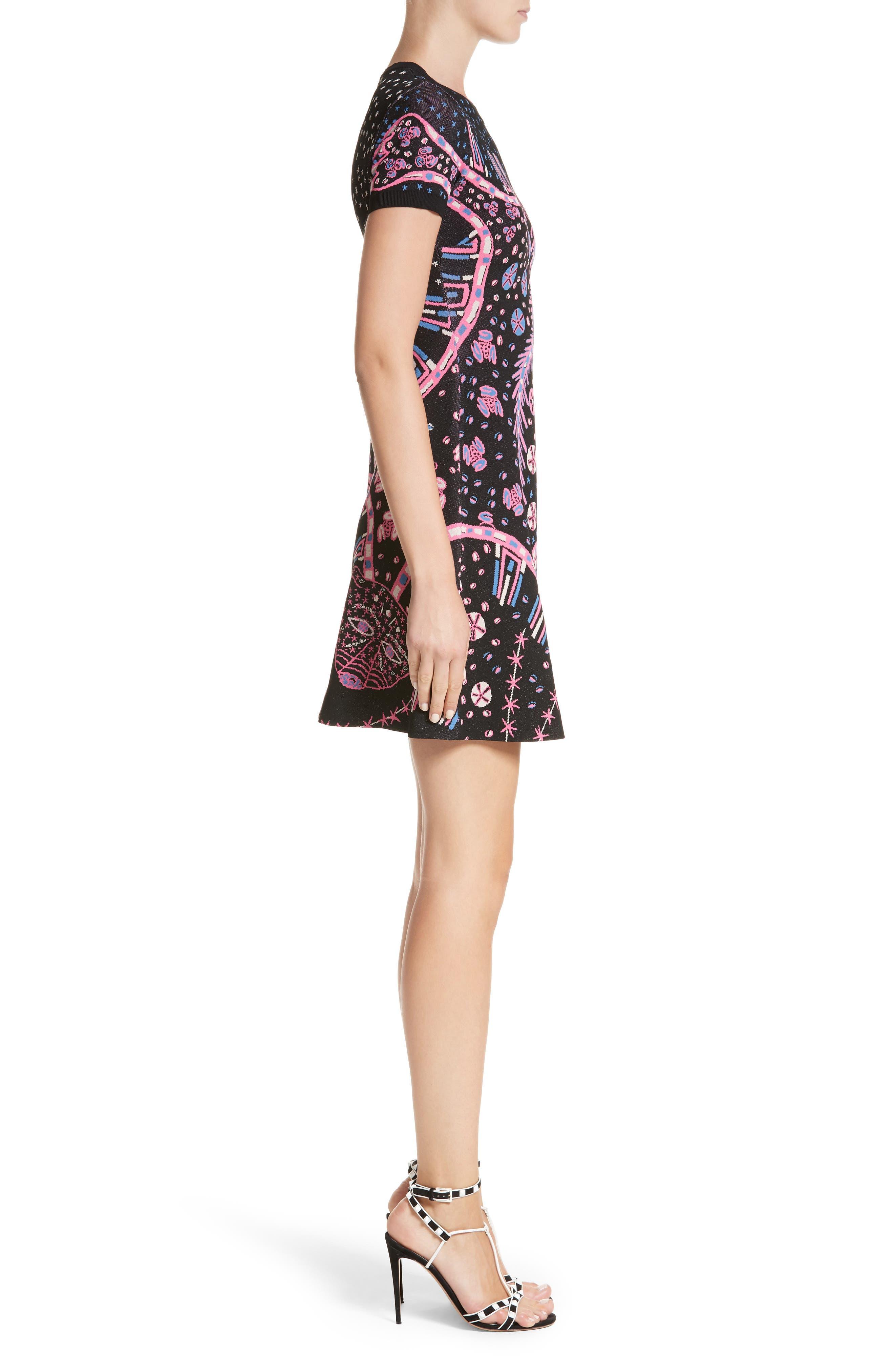Leopard Stretch Knit Dress,                             Alternate thumbnail 3, color,                             Black Multi