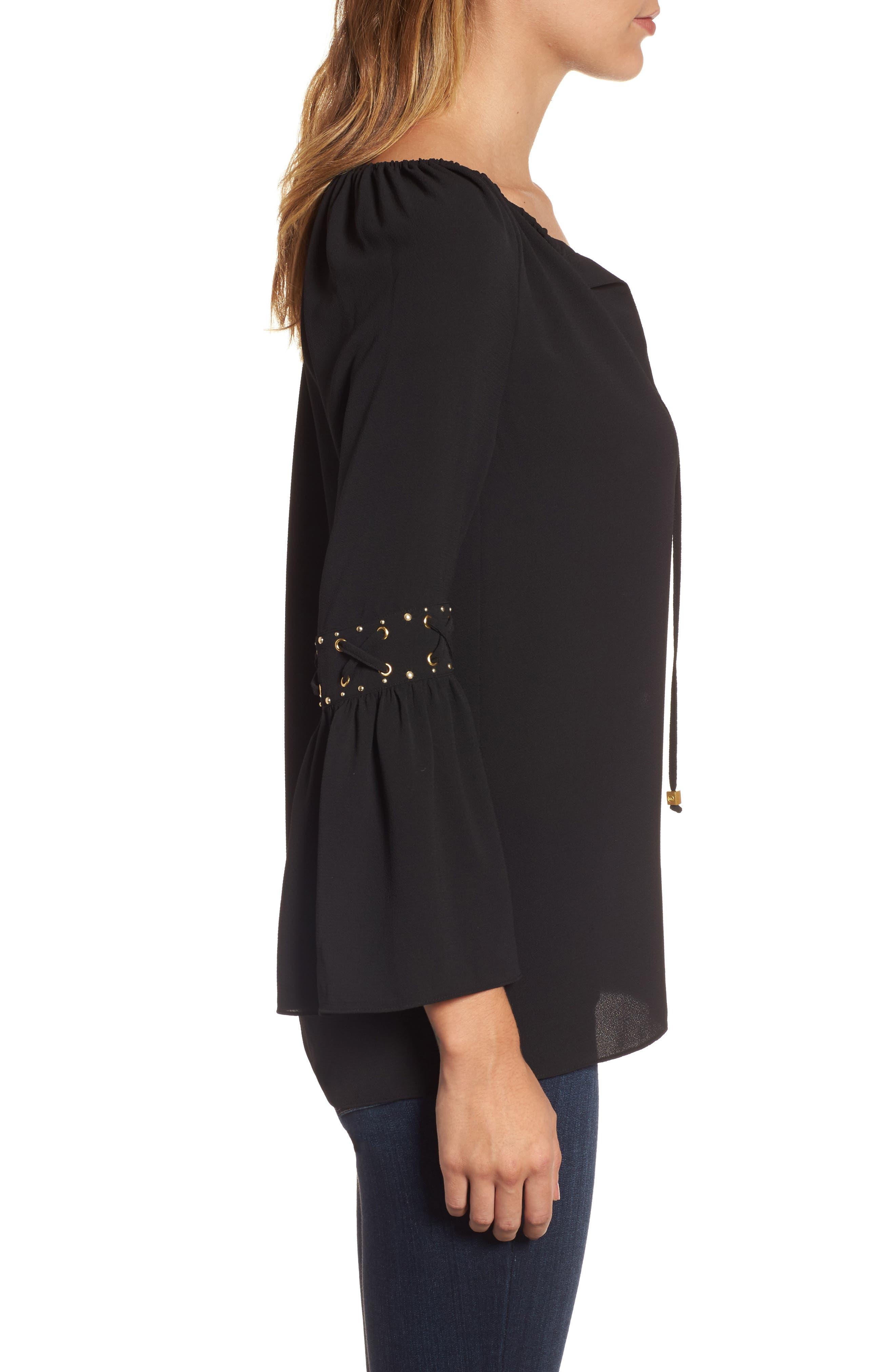 Alternate Image 3  - MICHAEL Michael Kors Lace-Up Sleeve Top