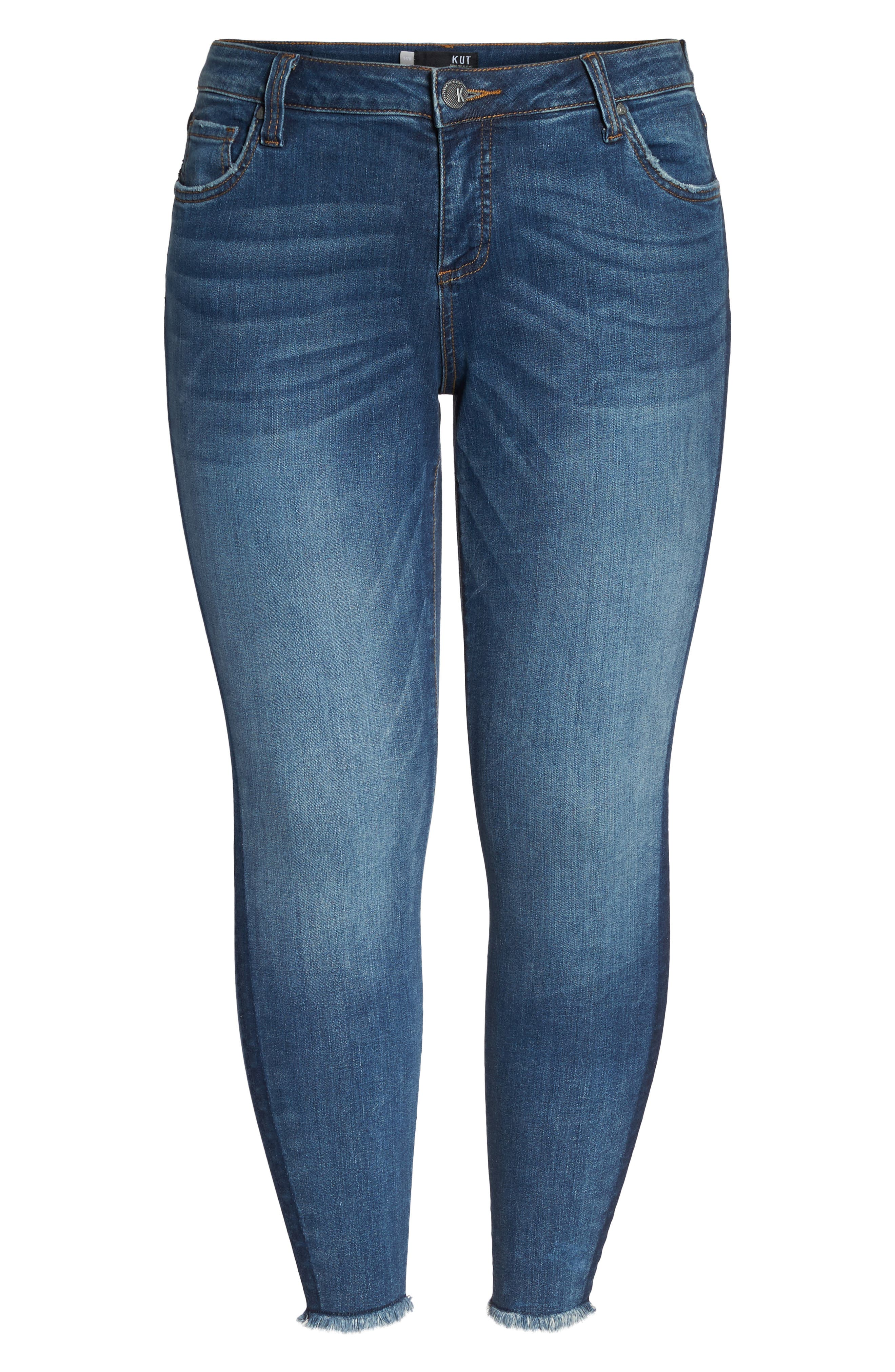 Alternate Image 7  - KUT from the Kloth Connie Frayed Skinny Ankle Jeans (Prolific) (Plus Size)