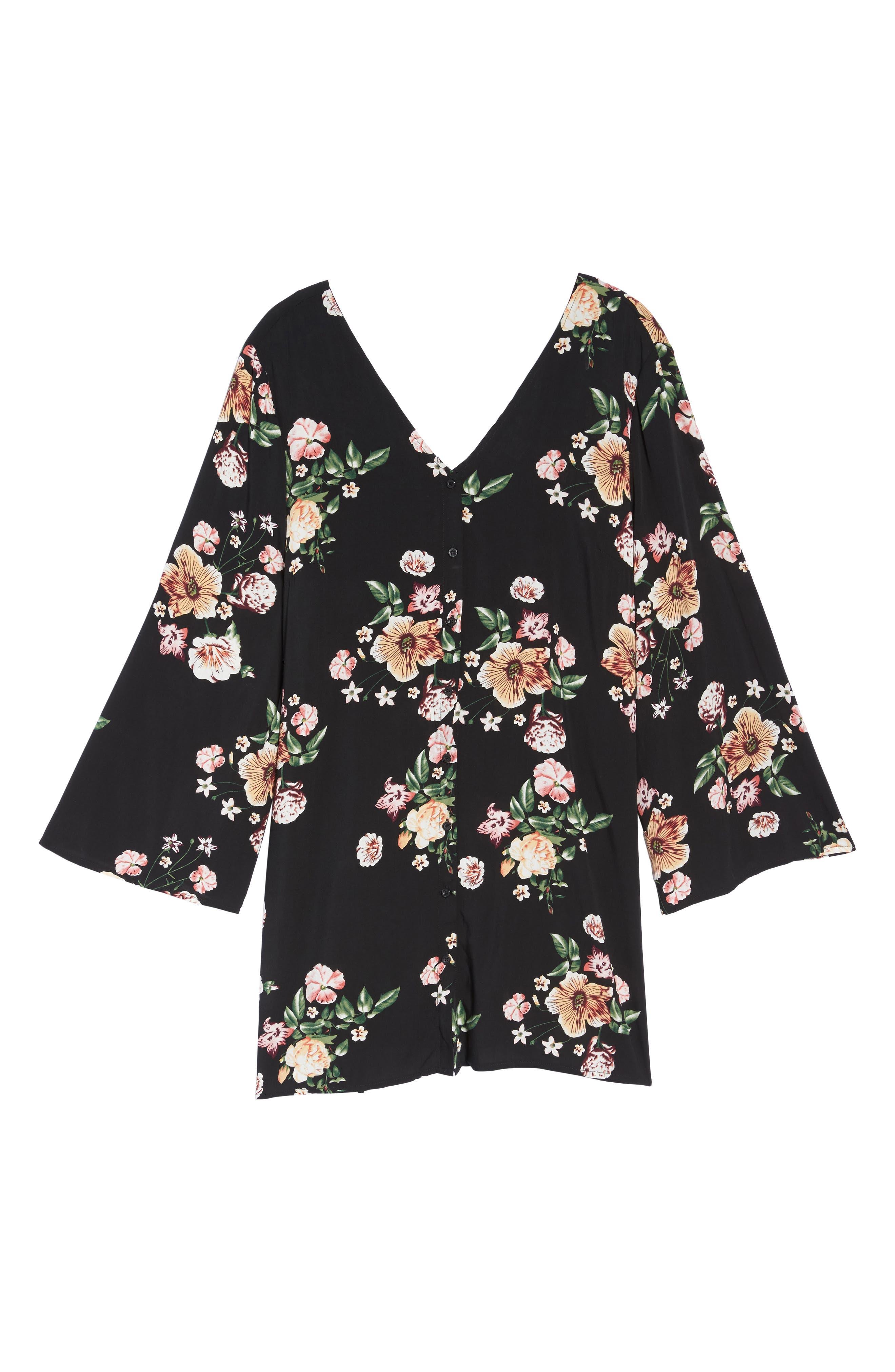 Bell Sleeve Floral Shift Dress,                             Alternate thumbnail 6, color,                             Black Tropic Flower