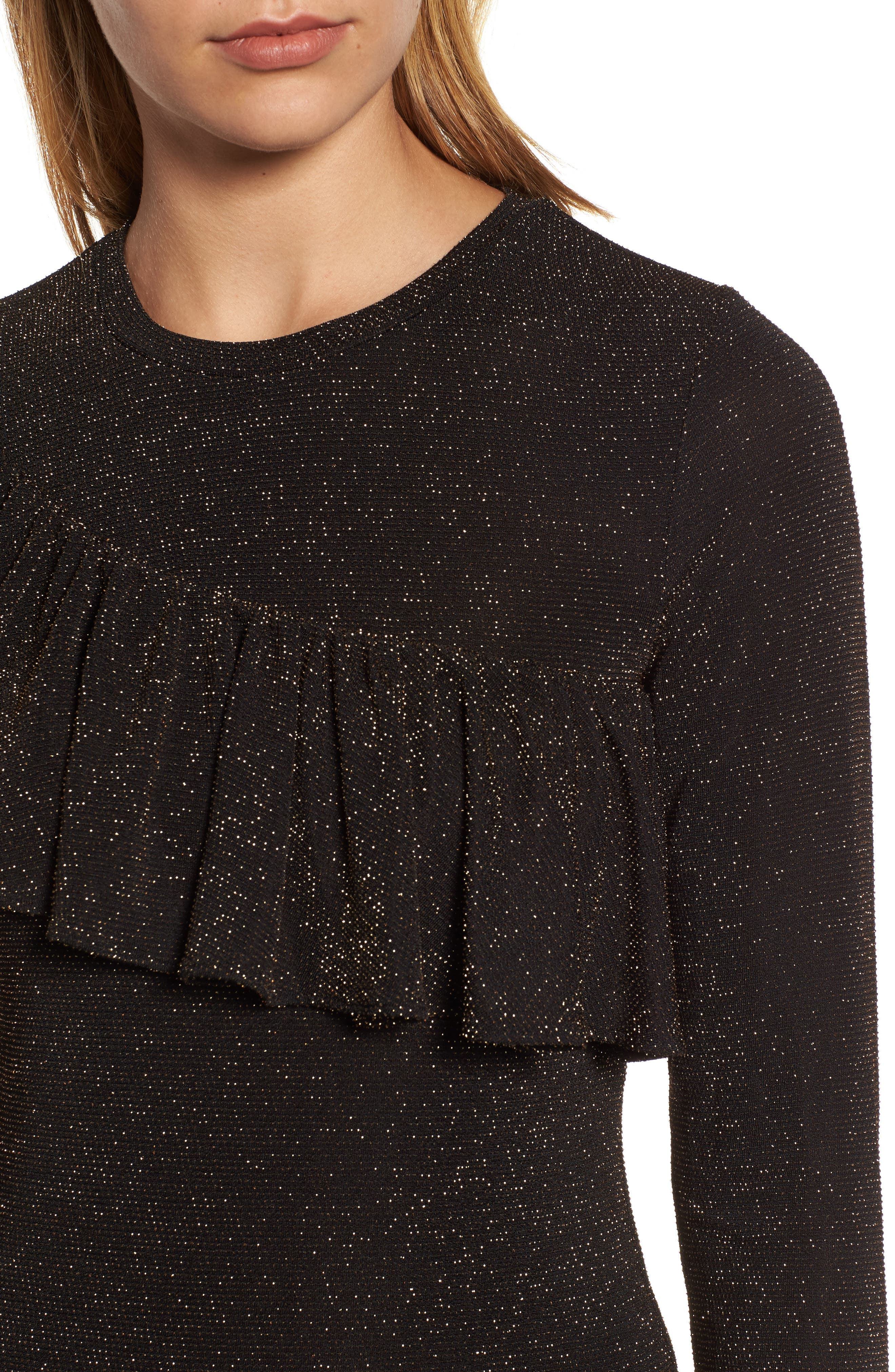 Metallic Ruffle Top,                             Alternate thumbnail 4, color,                             Black/ Silver