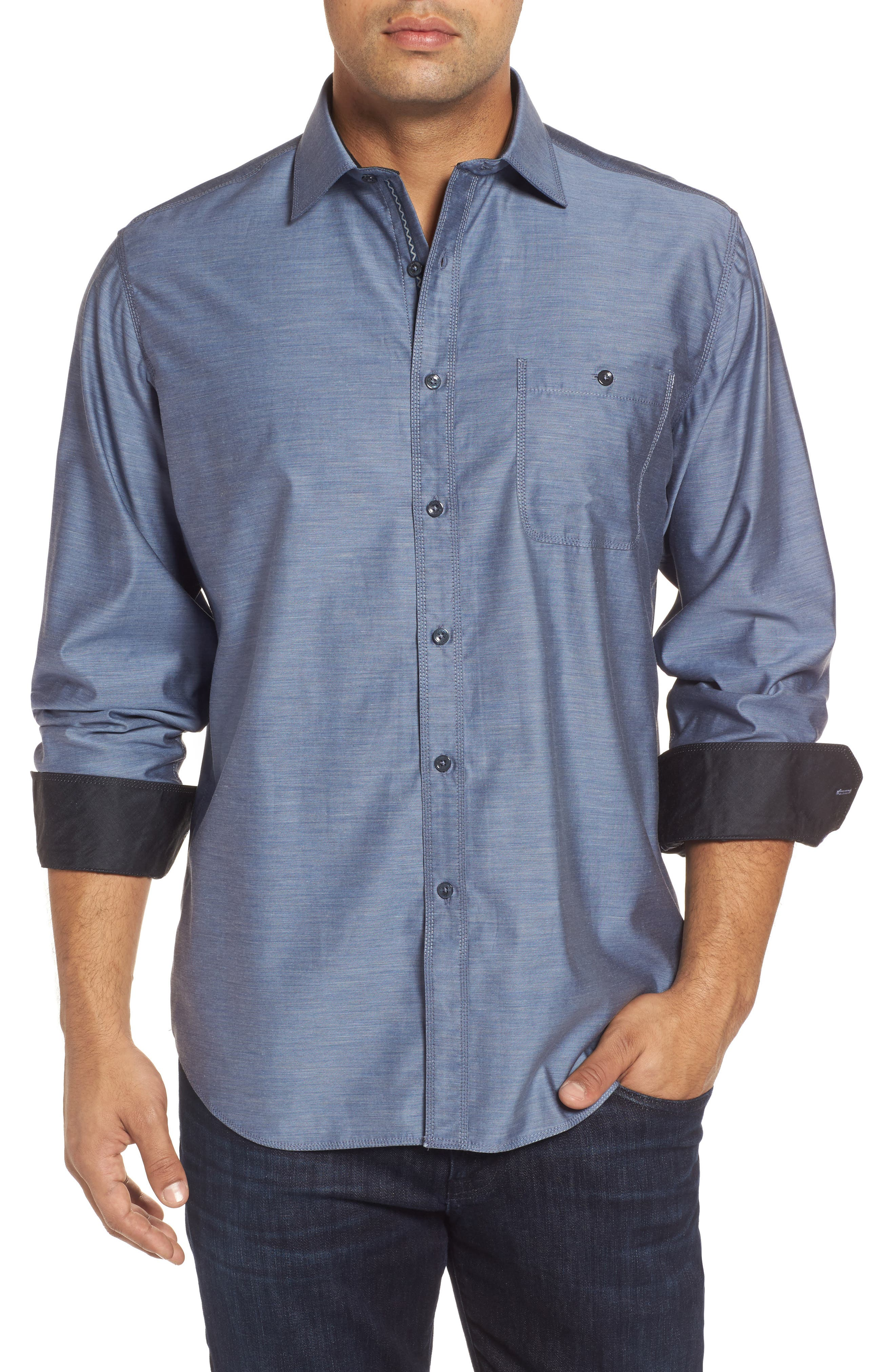Classic Fit Sport Shirt,                         Main,                         color, Steel
