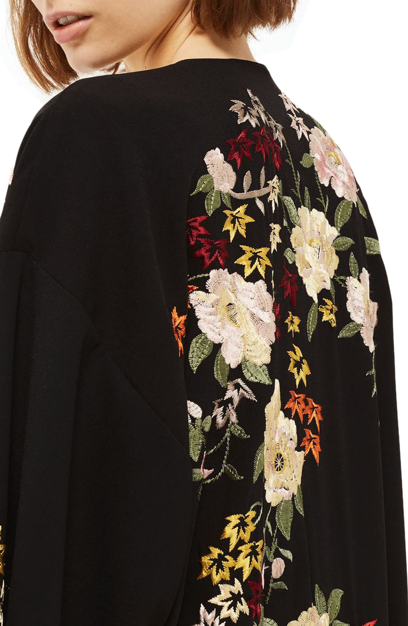 Floral Embroidered Kimono,                             Alternate thumbnail 3, color,                             Black Multi