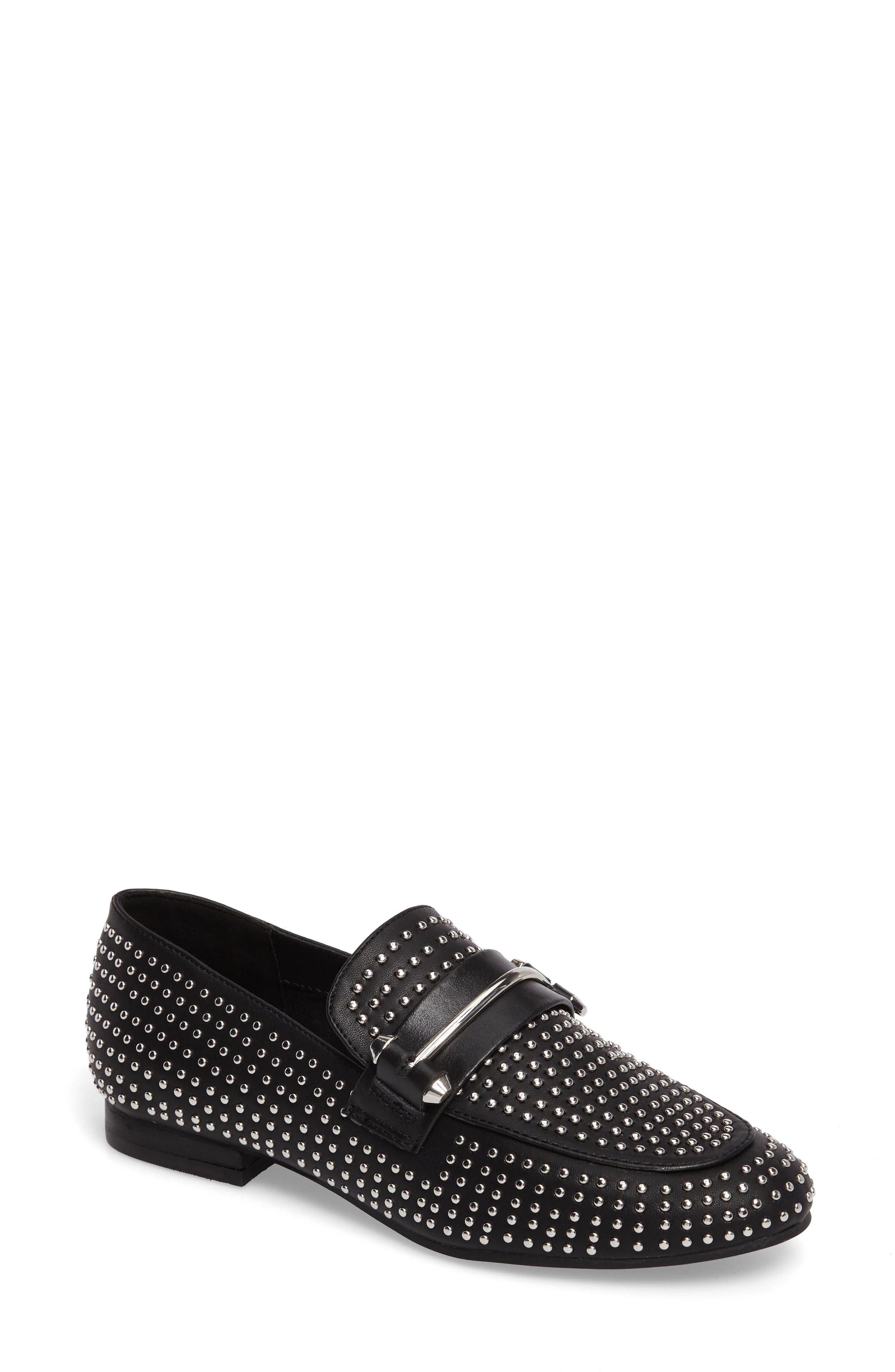 Kast Studded Loafer,                         Main,                         color, Black Faux Leather