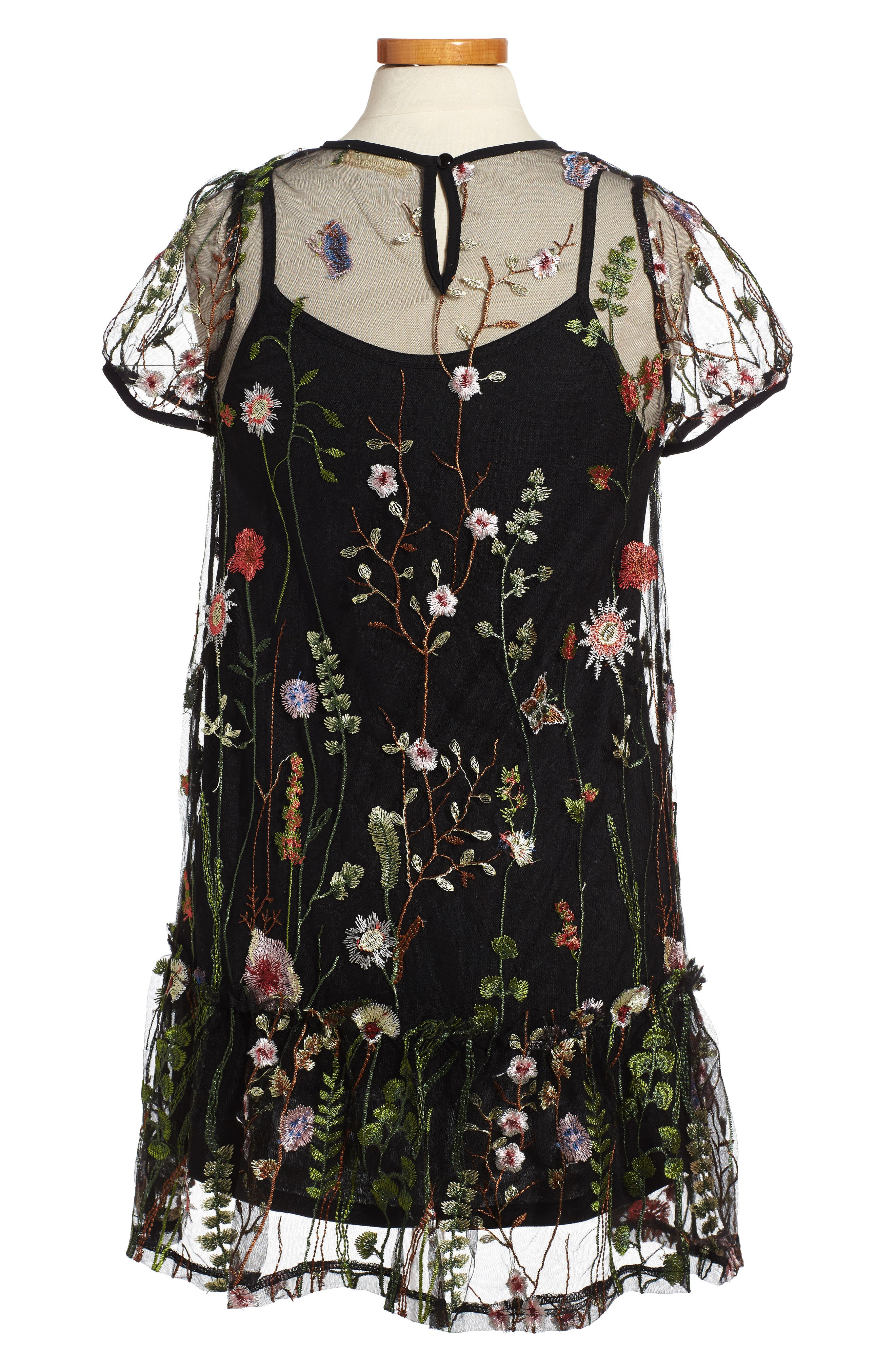 Embroidered Mesh Dress,                             Alternate thumbnail 2, color,                             Black Multi