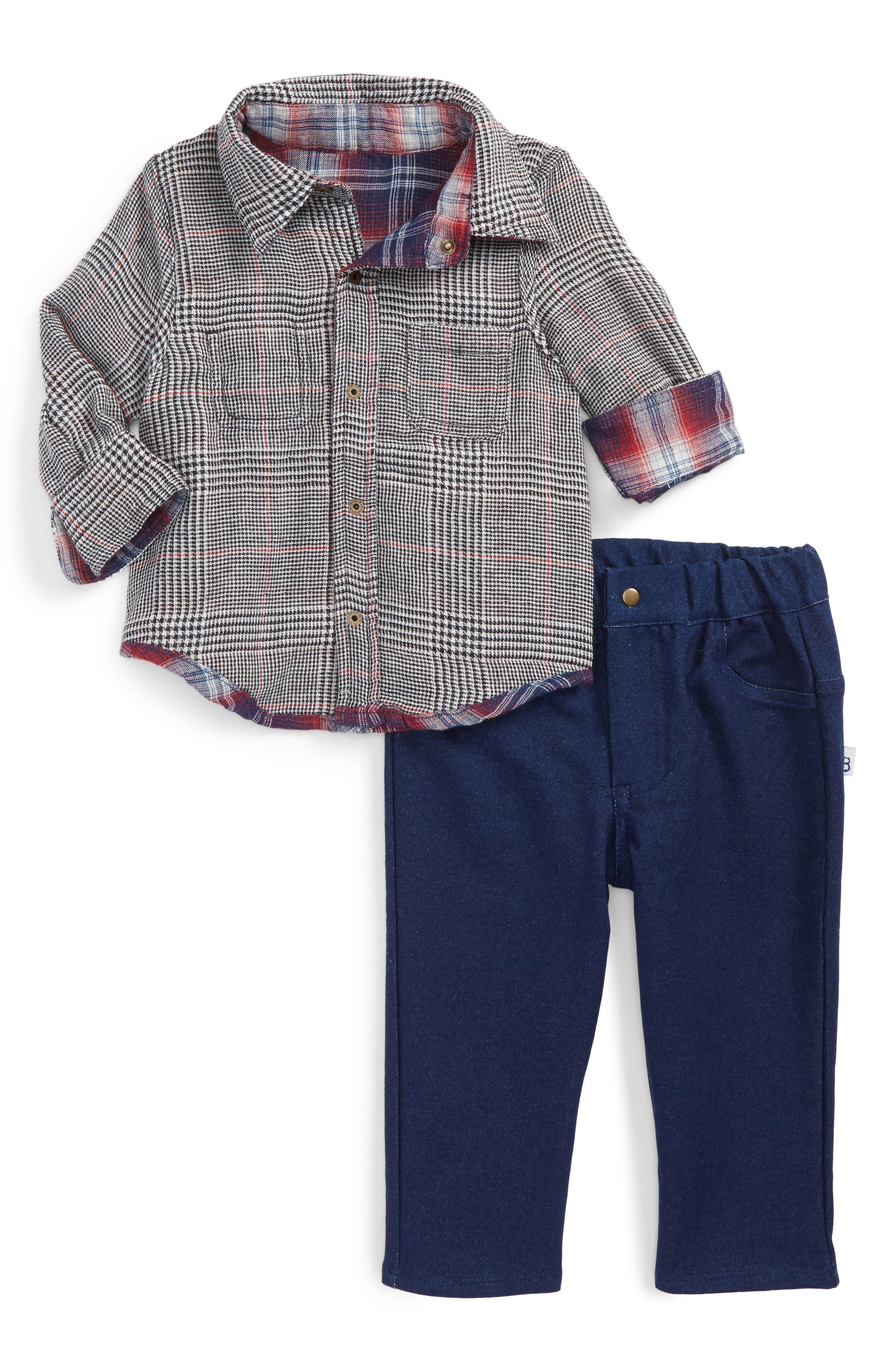 Alternate Image 2  - Little Brother by Pippa & Julie Reversible Woven Shirt & Pants Set (Baby Boys)