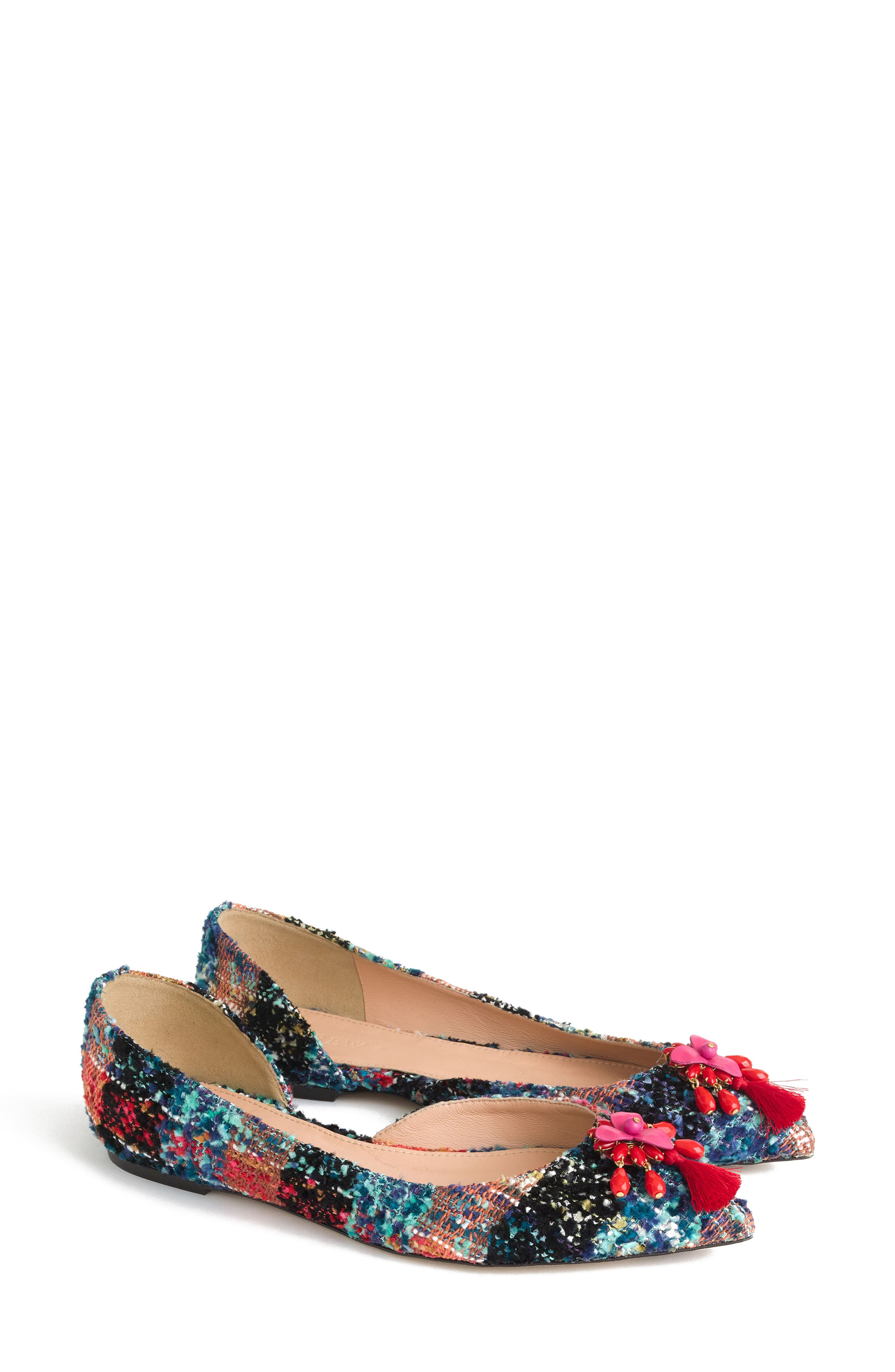 Sadie Pointy Toe Flat,                             Alternate thumbnail 4, color,                             Sundrenched Spearmint Fabric