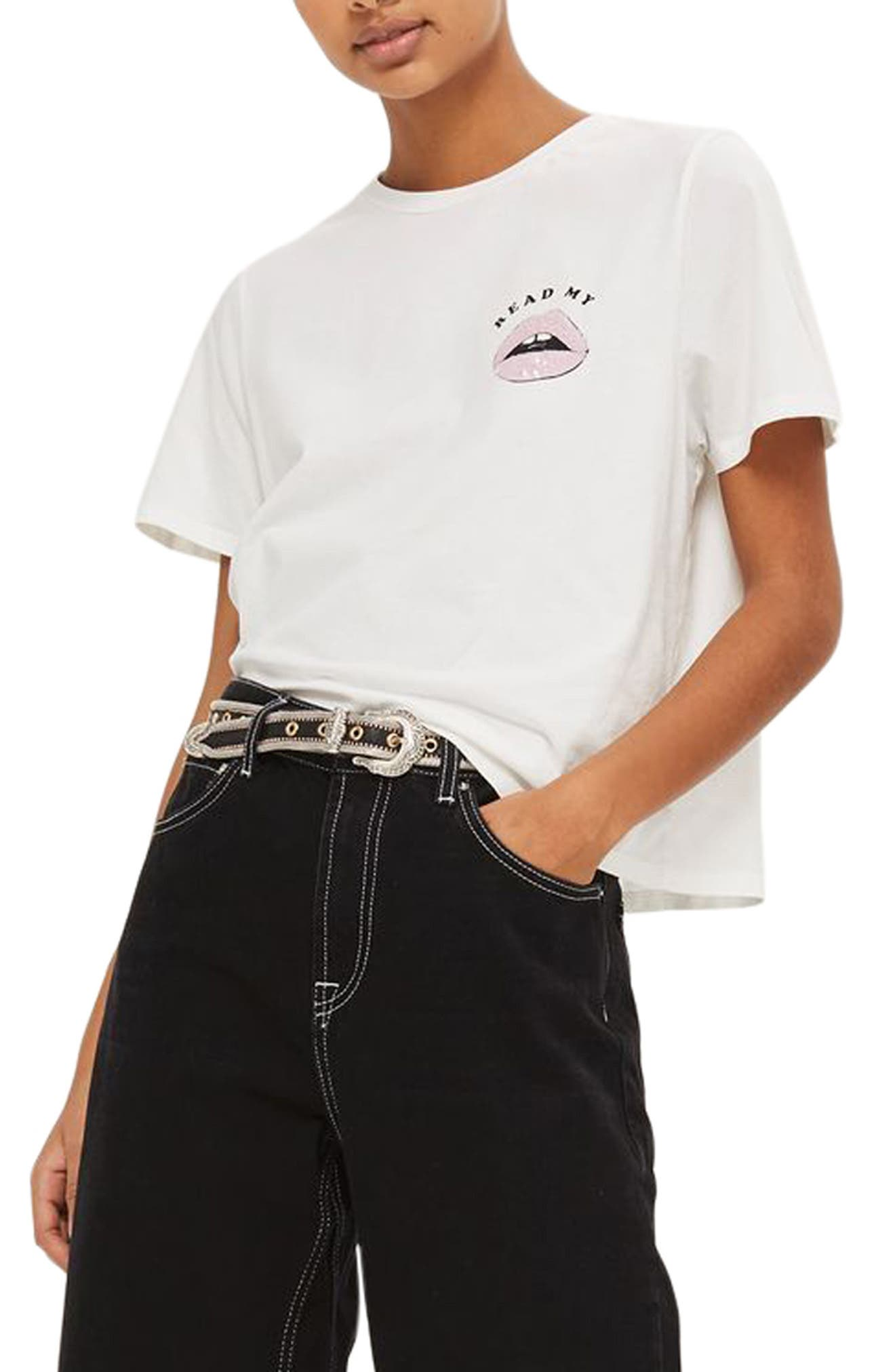 Read My Lips Graphic Tee,                         Main,                         color, White