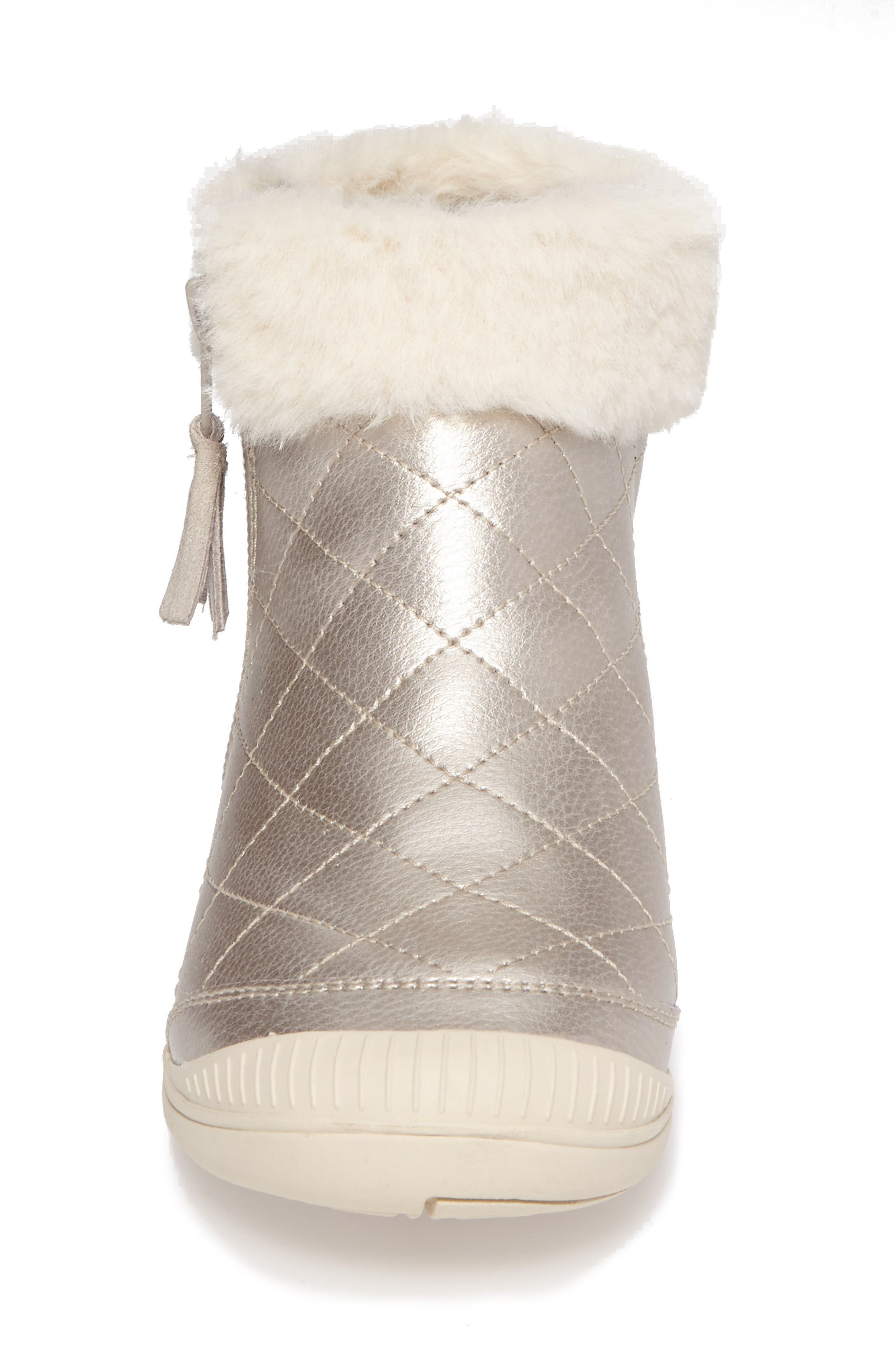 Alternate Image 4  - Stride Rite Chloe Faux Fur Quilted Bootie (Walker, Toddler & Little Kid)
