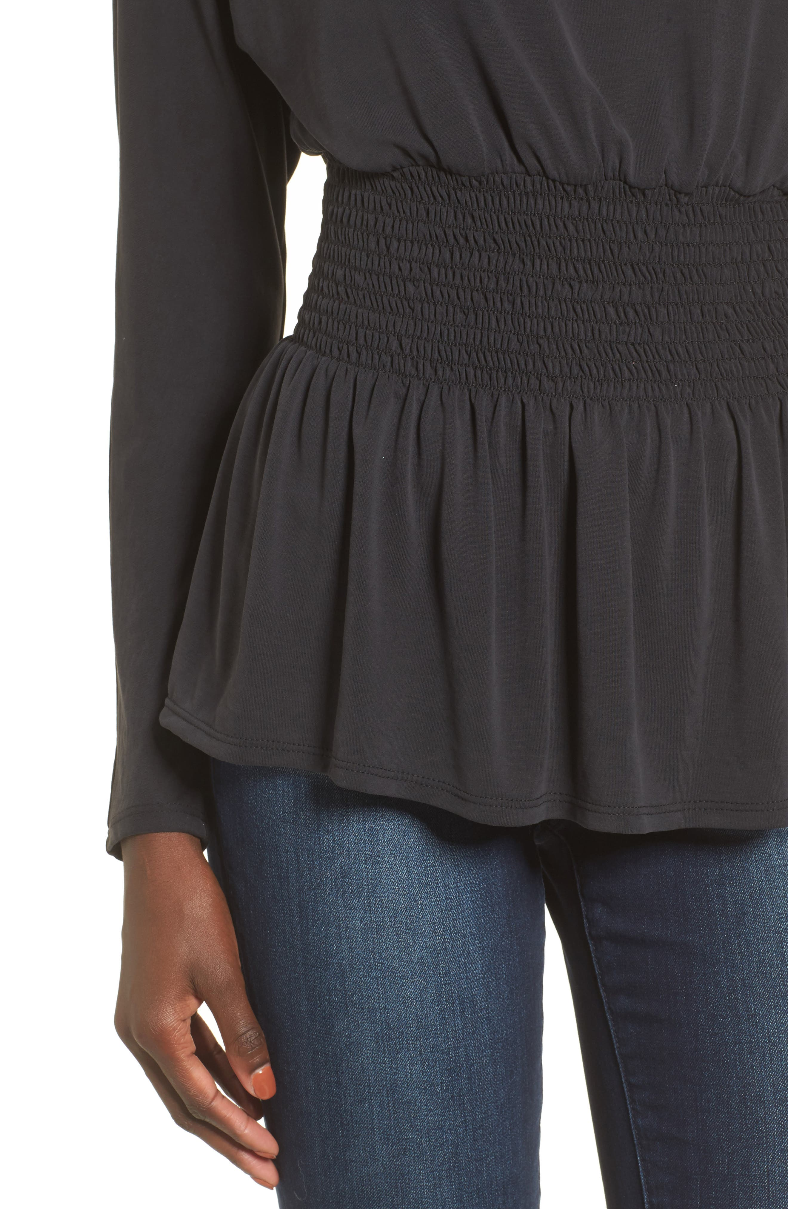 Cupro Smocked Waist Top,                             Alternate thumbnail 4, color,                             Charcoal