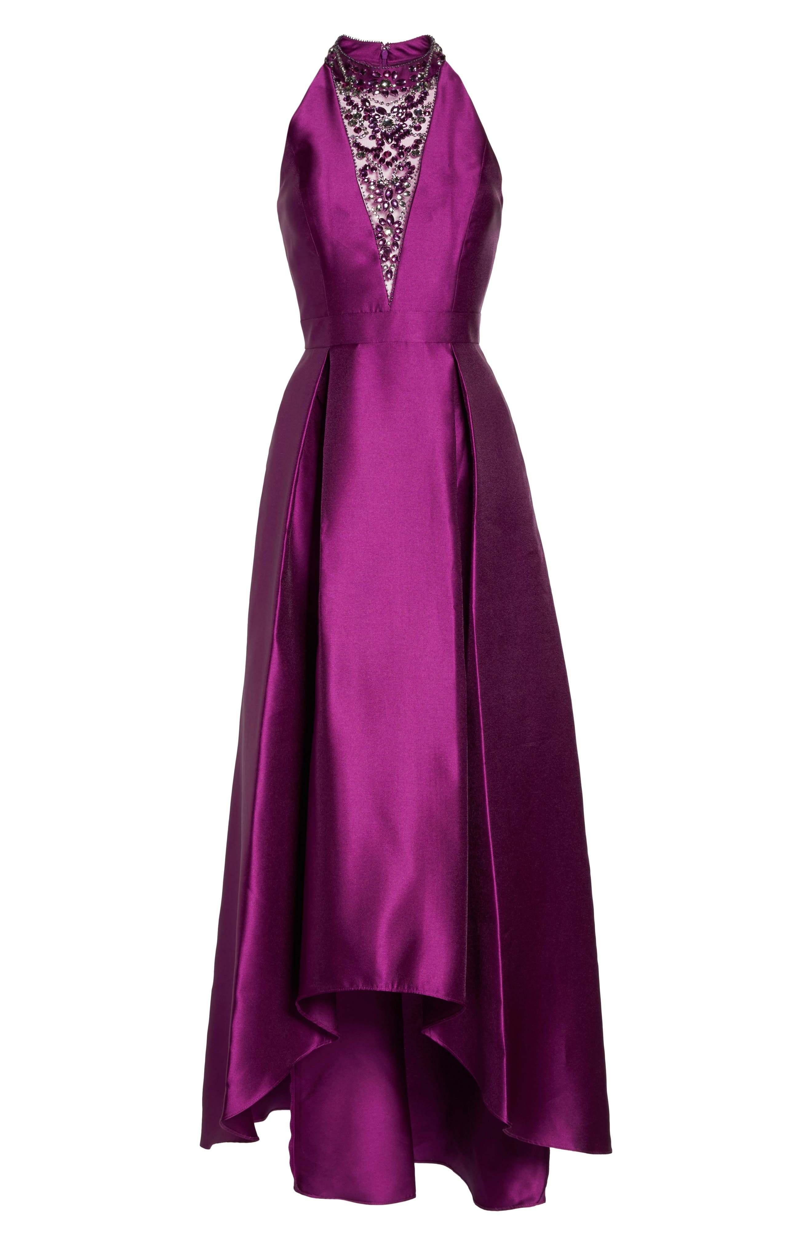 Embellished Mikado High/Low Gown,                             Alternate thumbnail 6, color,                             Ultra Berry