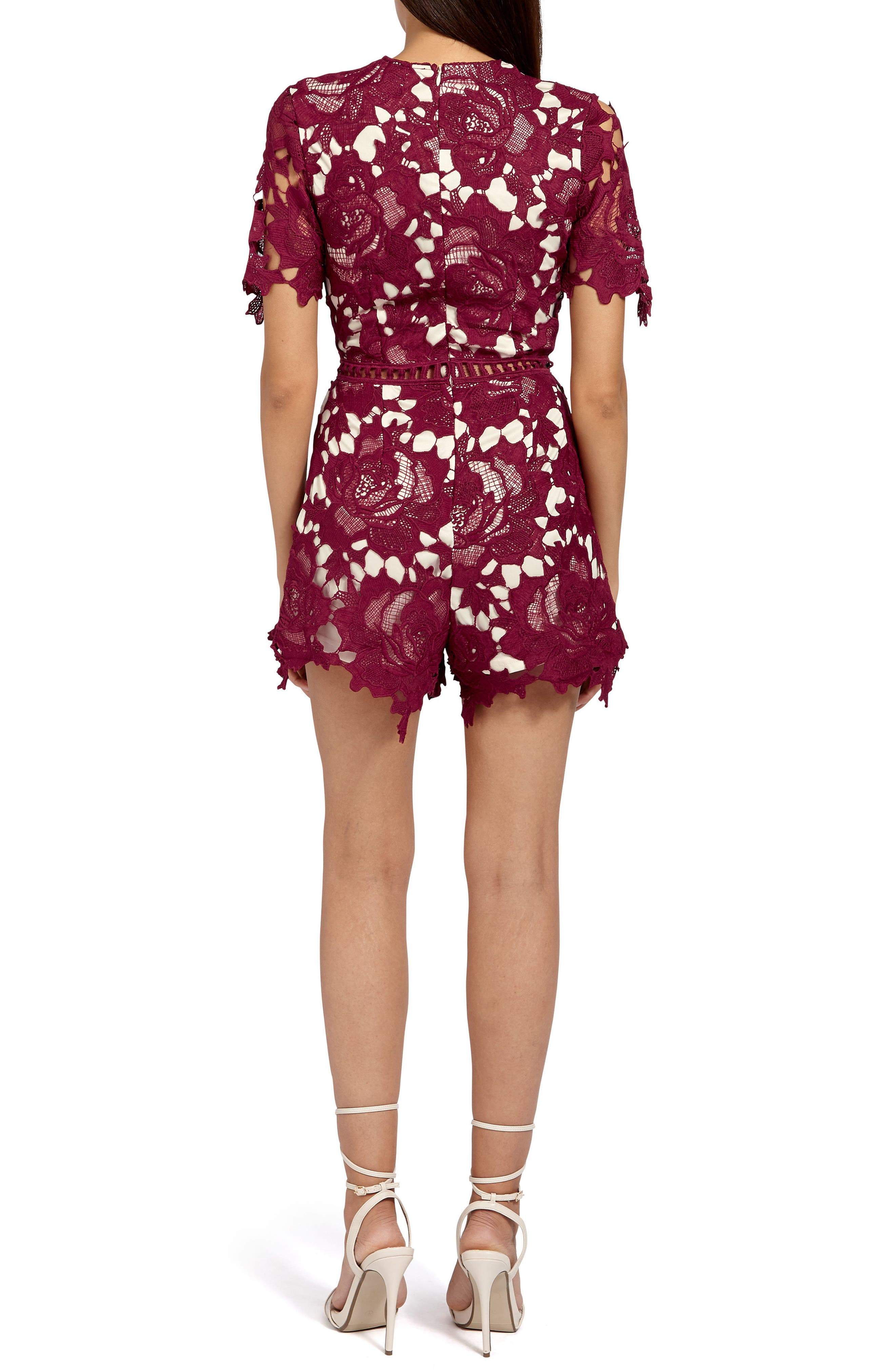 Ladder Stitch Lace Romper,                             Alternate thumbnail 2, color,                             Burgundy