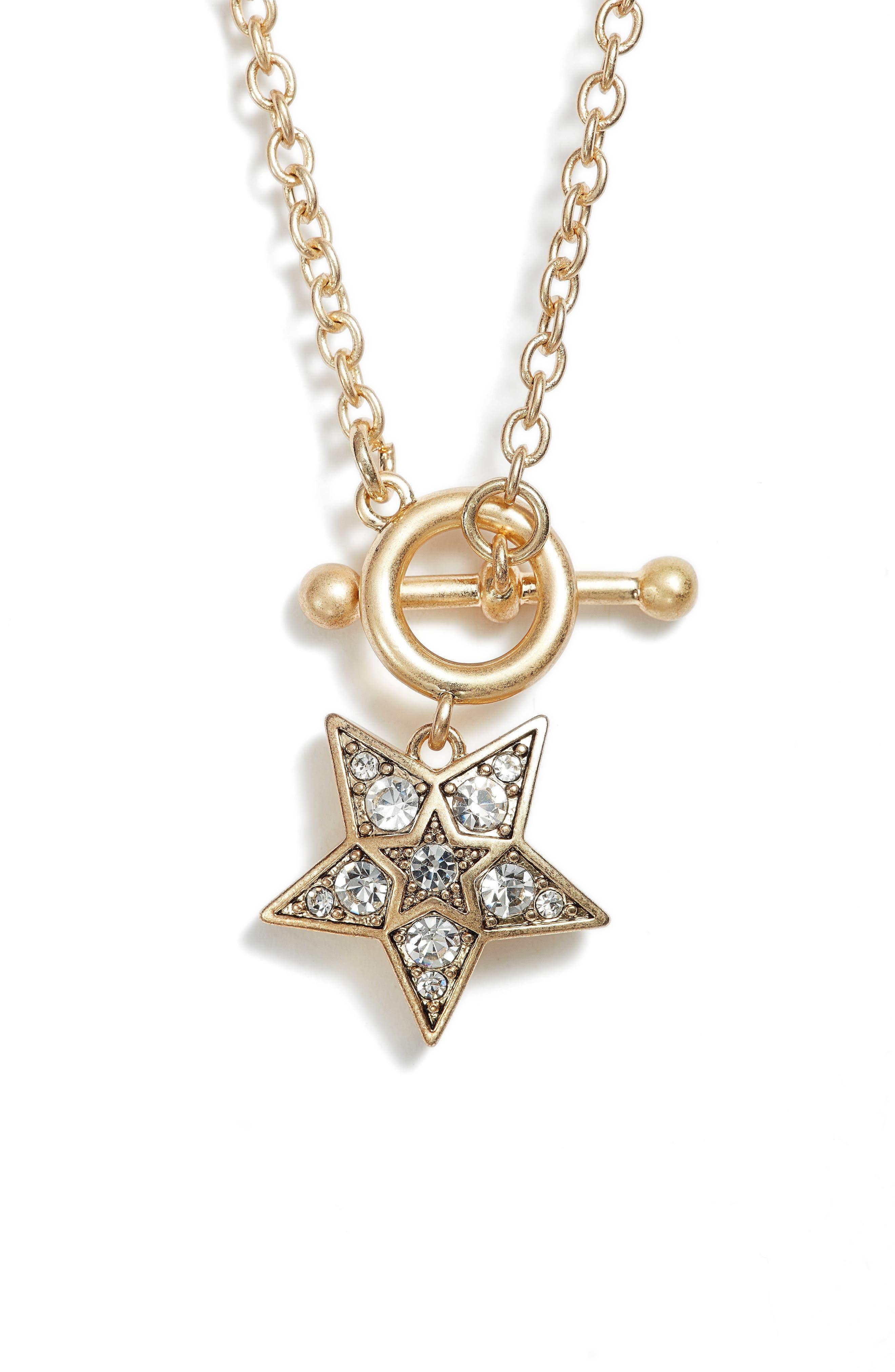 Embellished Star Pendant Necklace,                         Main,                         color, Gold/ Crystal