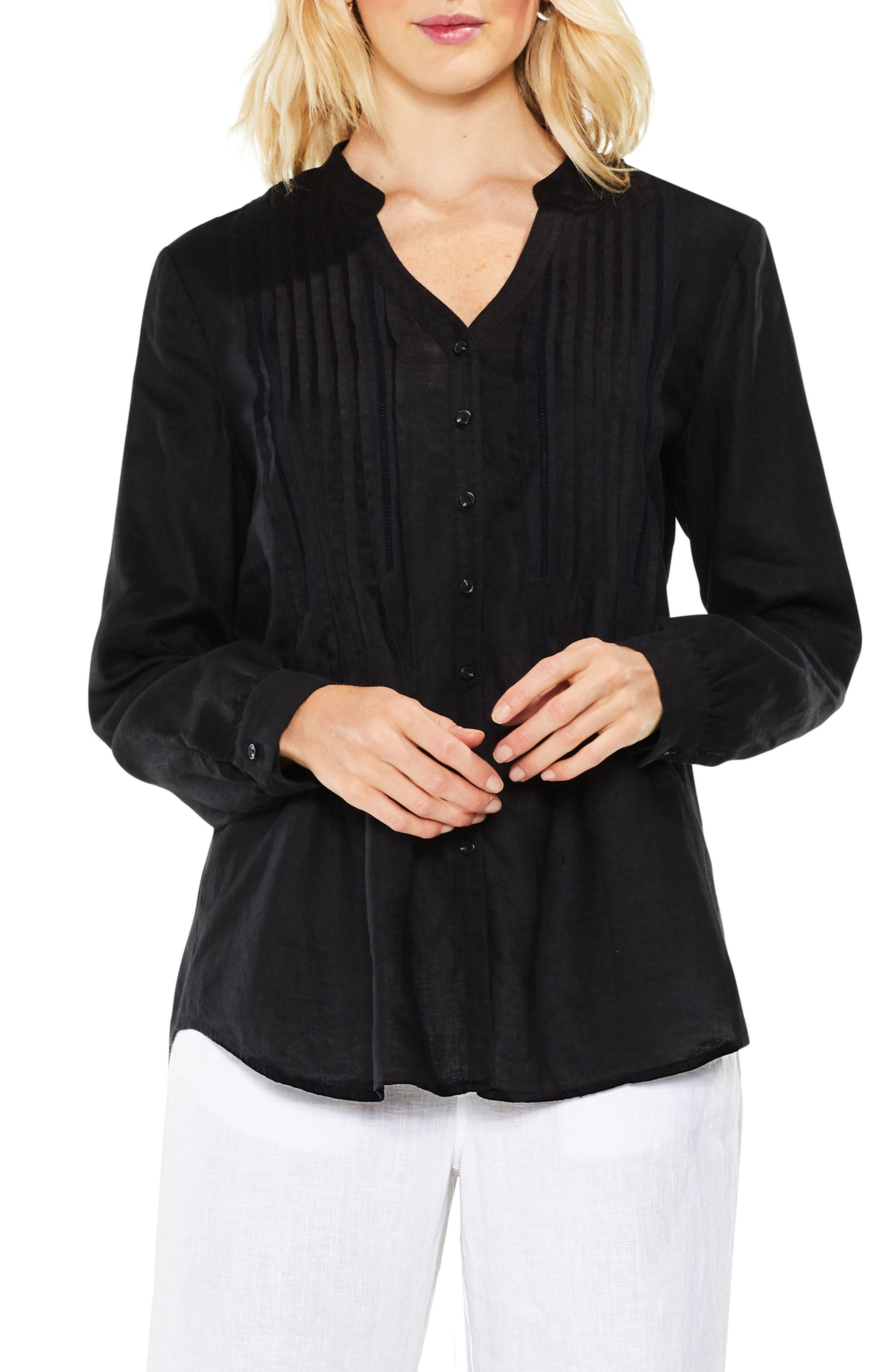 Split Neck Linen Blouse,                         Main,                         color, Rich Black