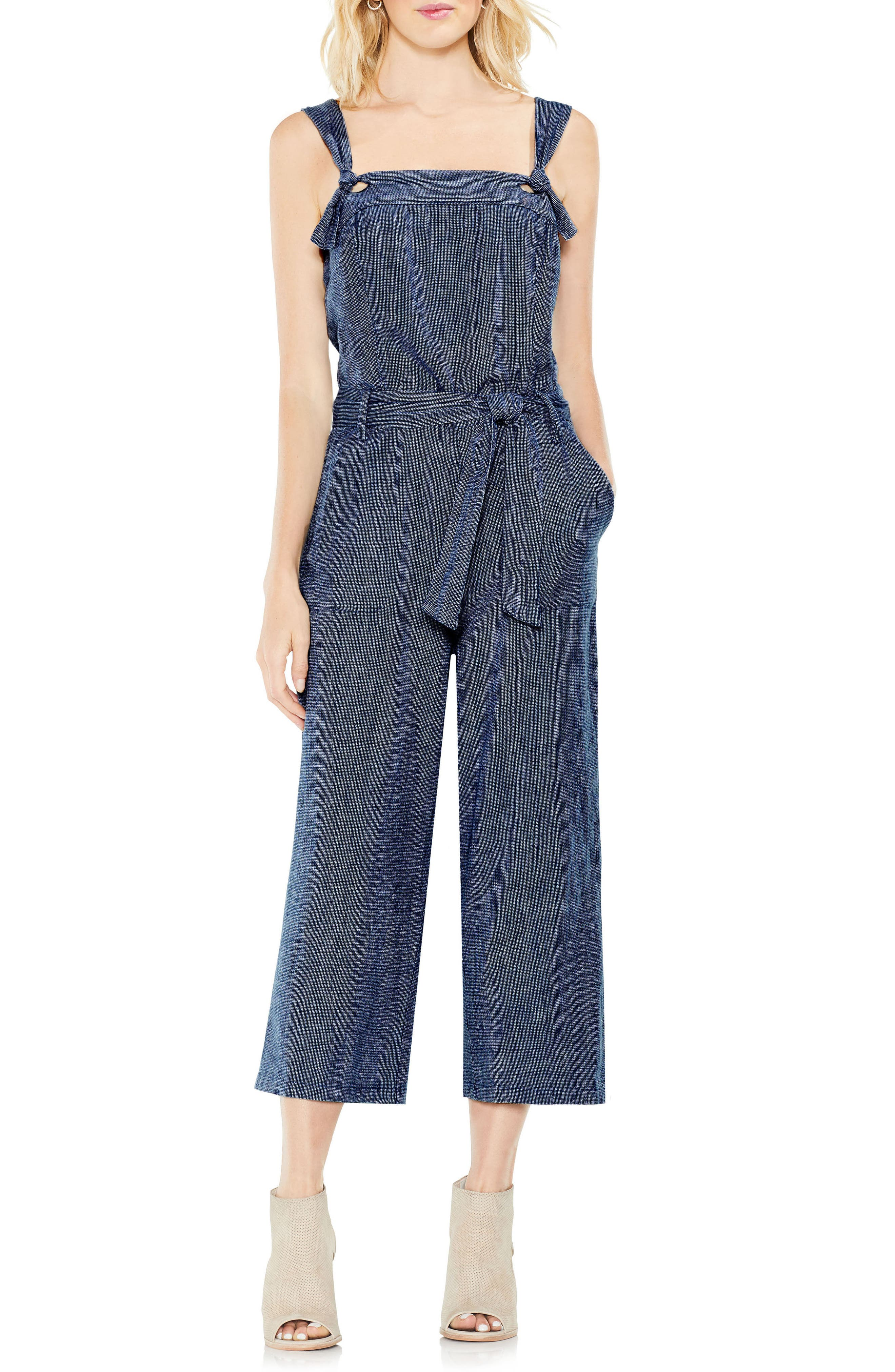 Linen Belted Jumpsuit,                         Main,                         color, Night Navy