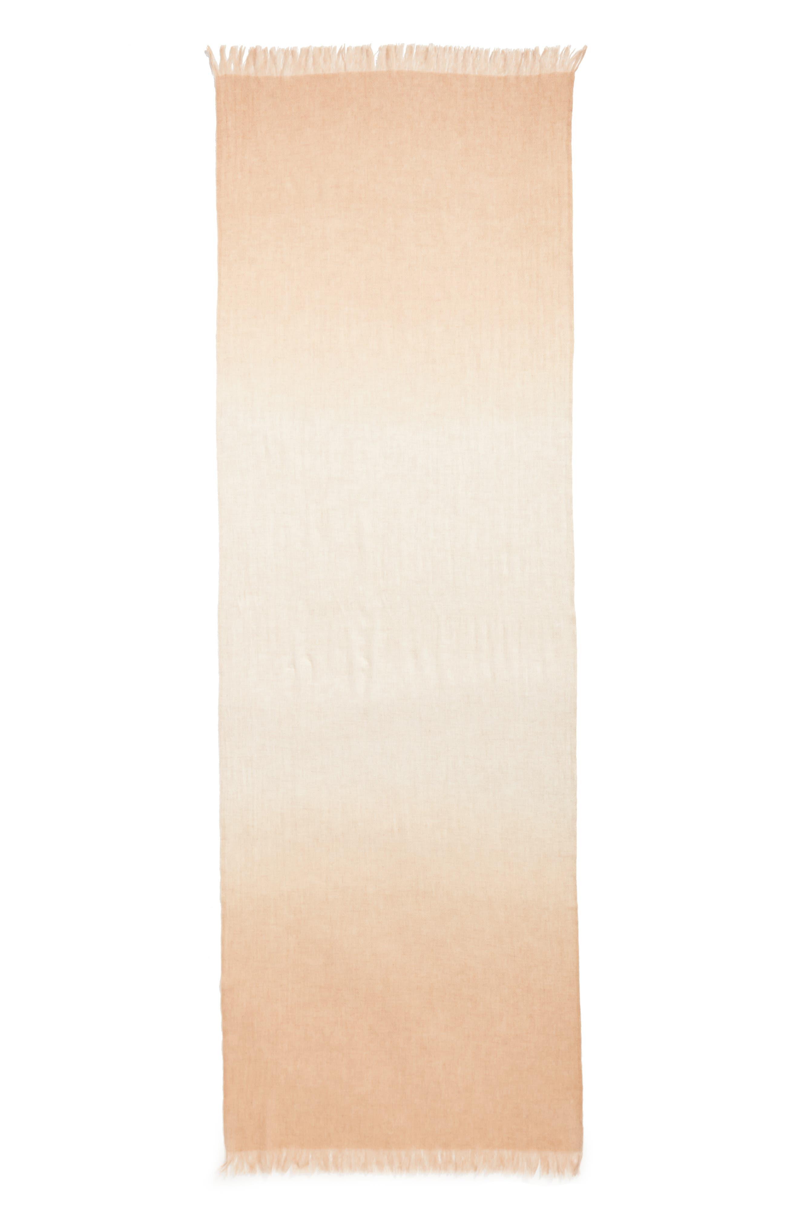 Caslon Dip Dye Cashmere Wrap,                             Alternate thumbnail 6, color,                             Beige Combo
