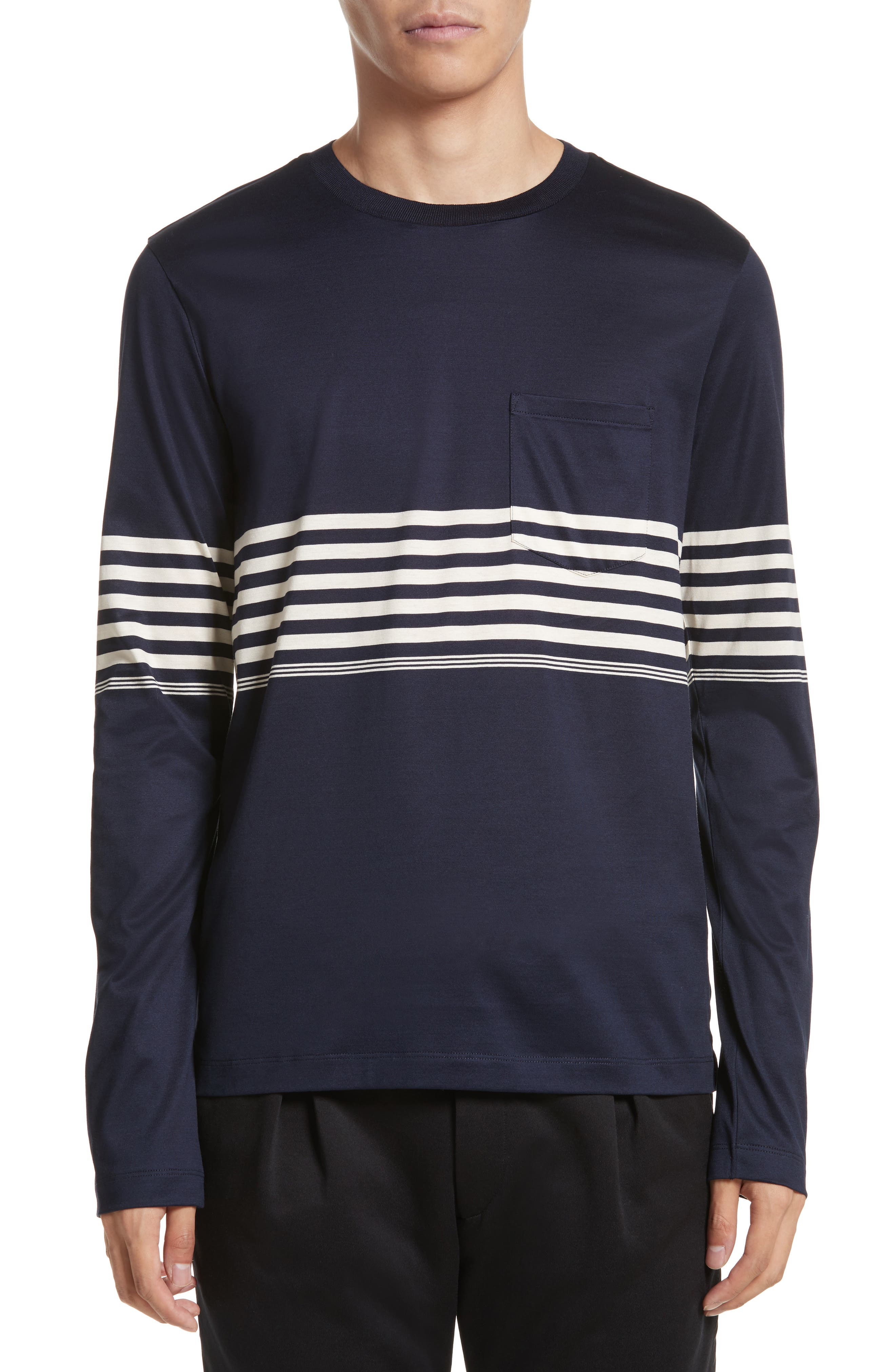 Stripe Long Sleeve T-Shirt,                         Main,                         color, Navy