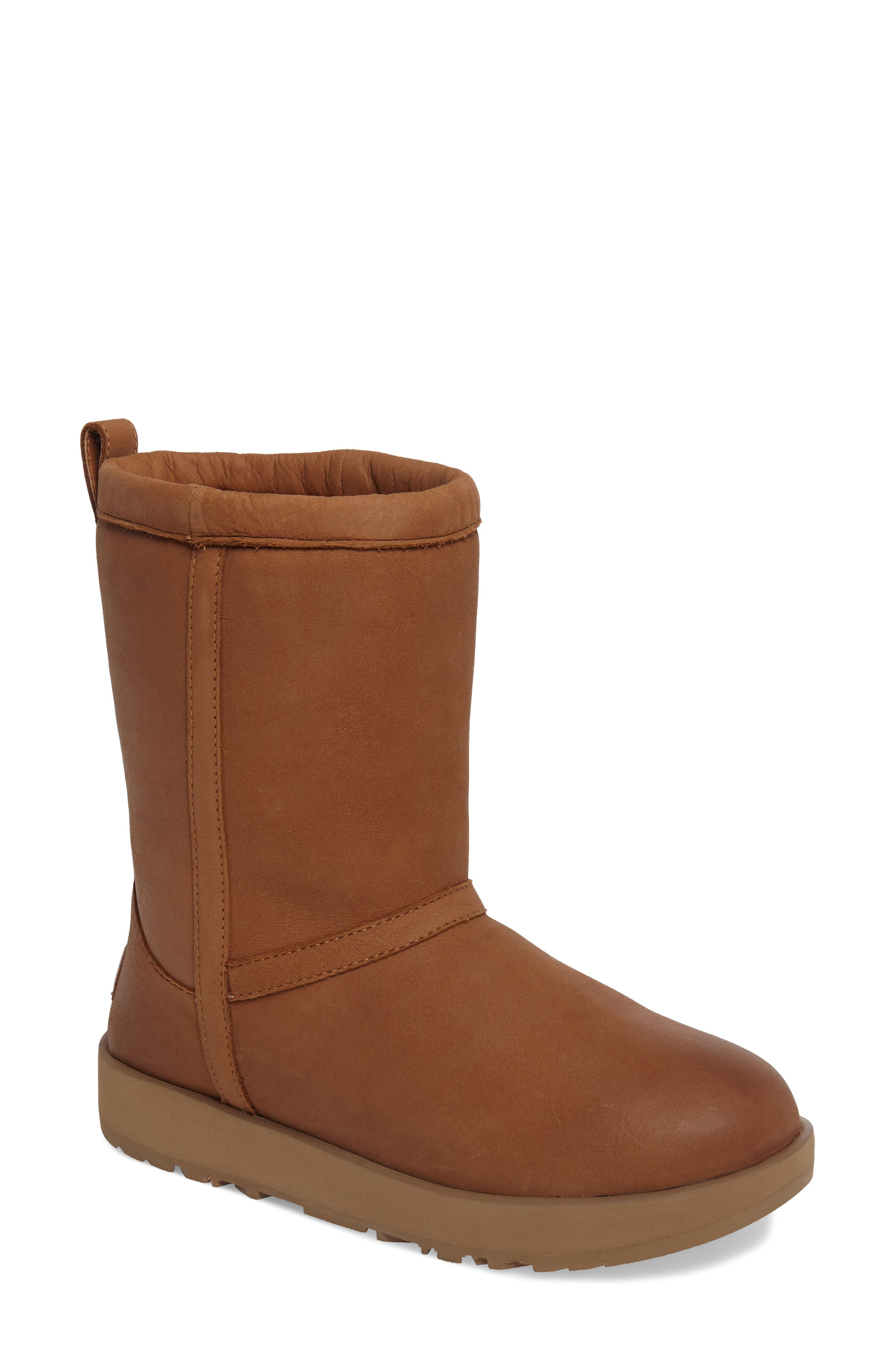 Classic Genuine Shearling Lined Short Waterproof Boot,                         Main,                         color, Chestnut Leather