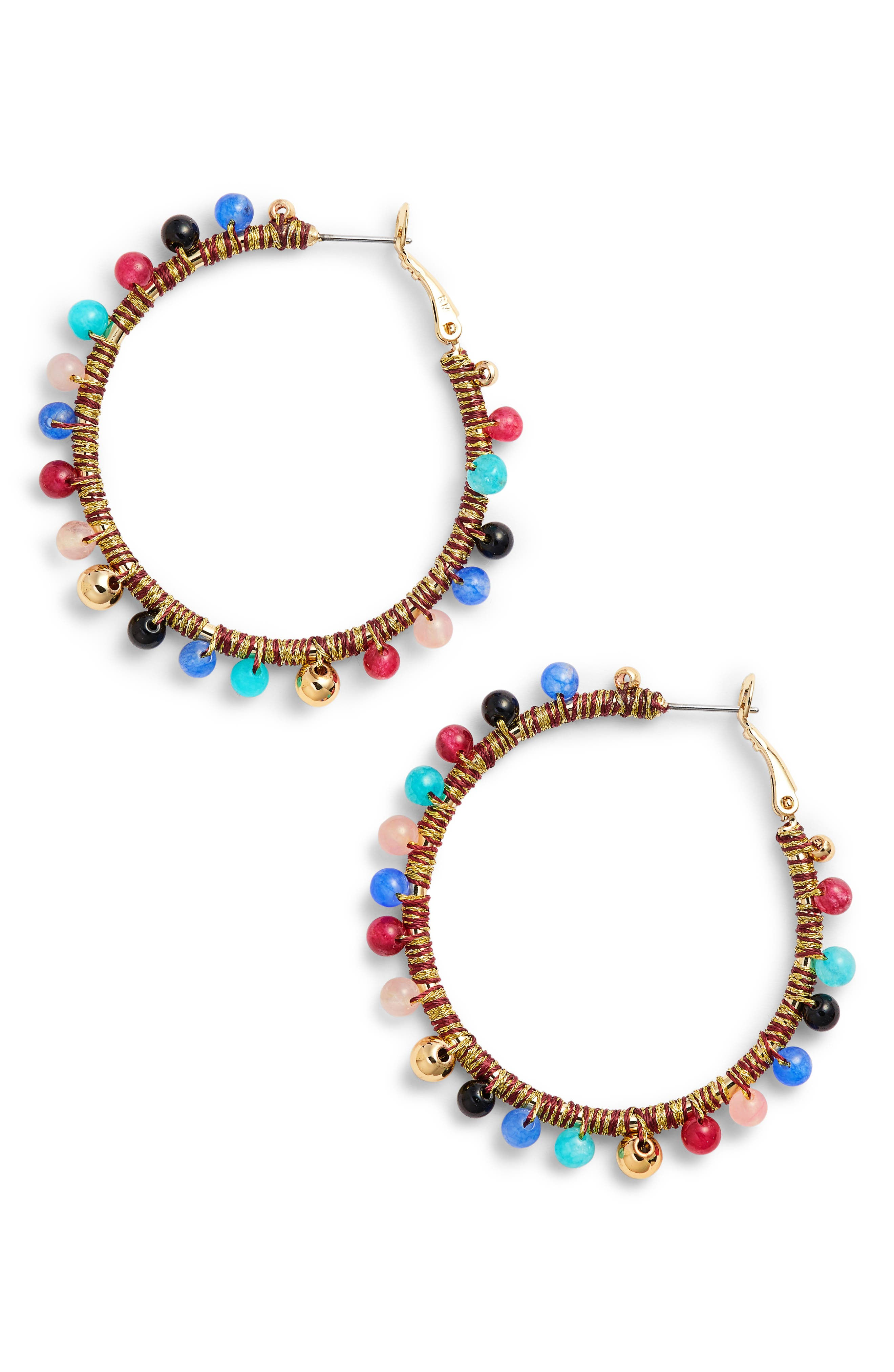 Rebecca Minkoff Morocco Beaded Hoop Earrings