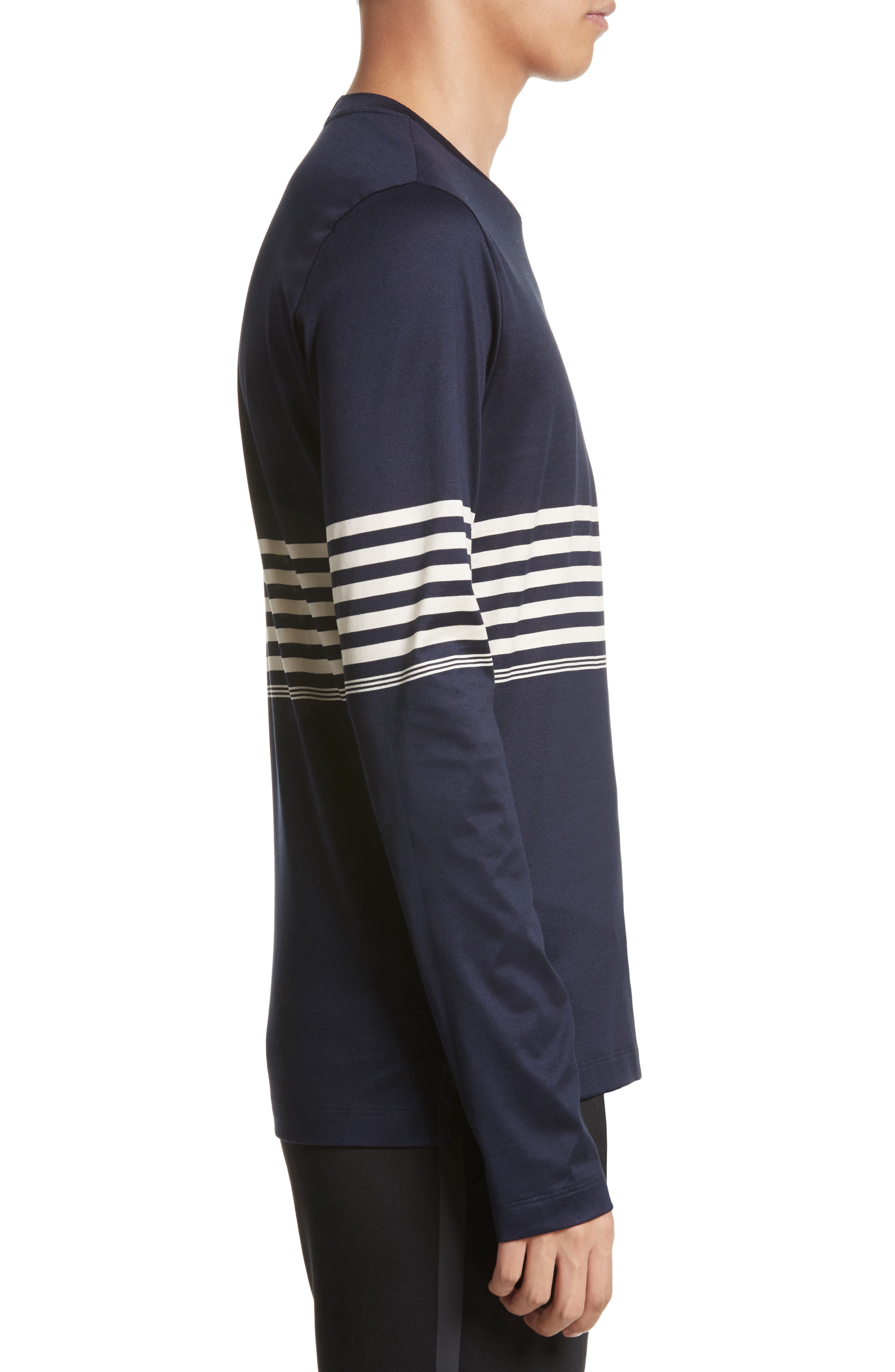 Stripe Long Sleeve T-Shirt,                             Alternate thumbnail 3, color,                             Navy